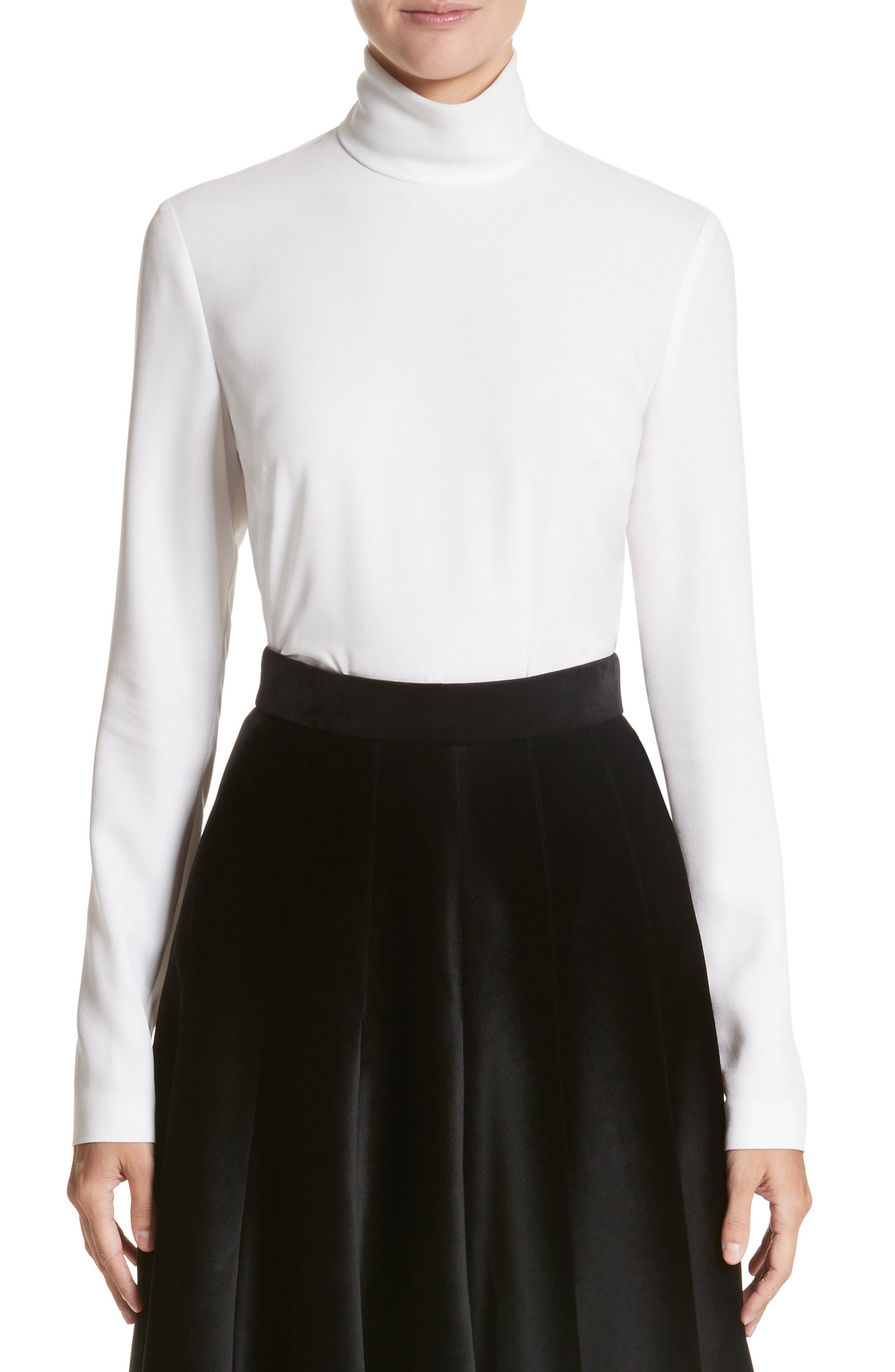 Main Image - Sara Battaglia Crepe Cady Turtleneck Blouse