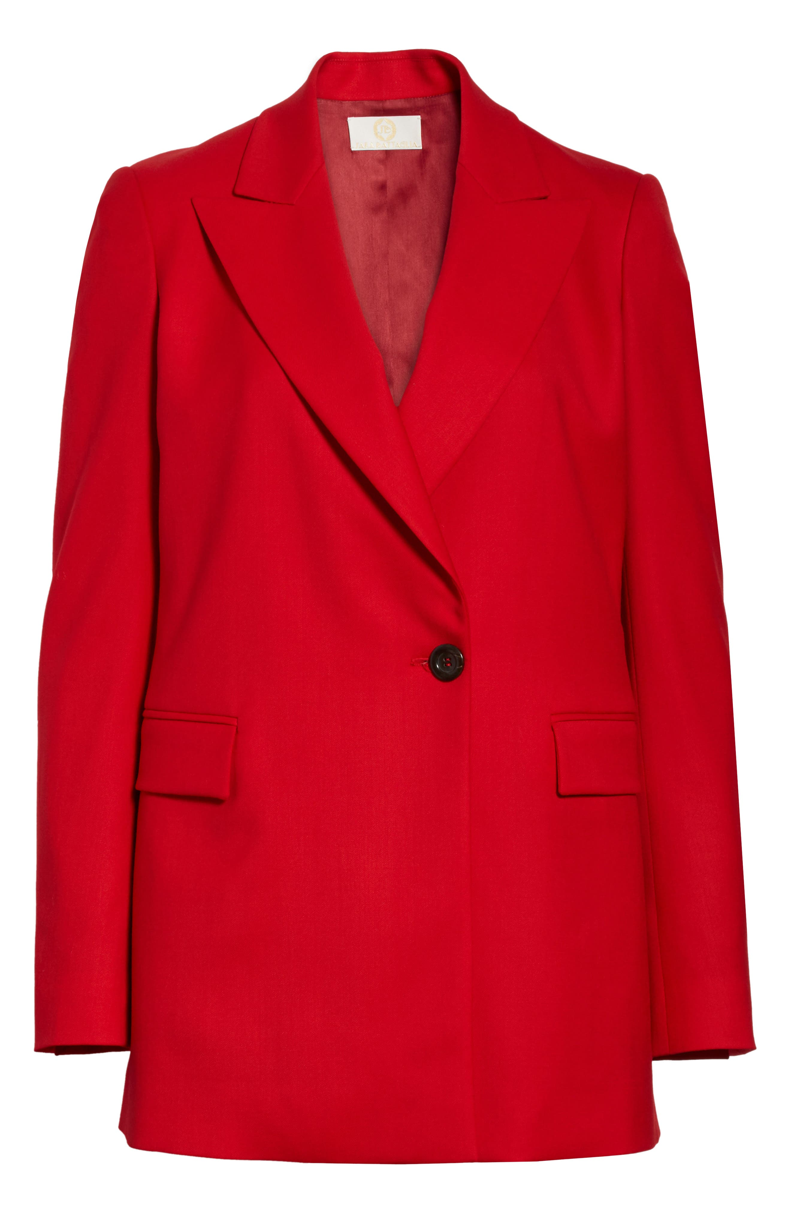 Stretch Wool Blazer,                             Alternate thumbnail 8, color,                             Red