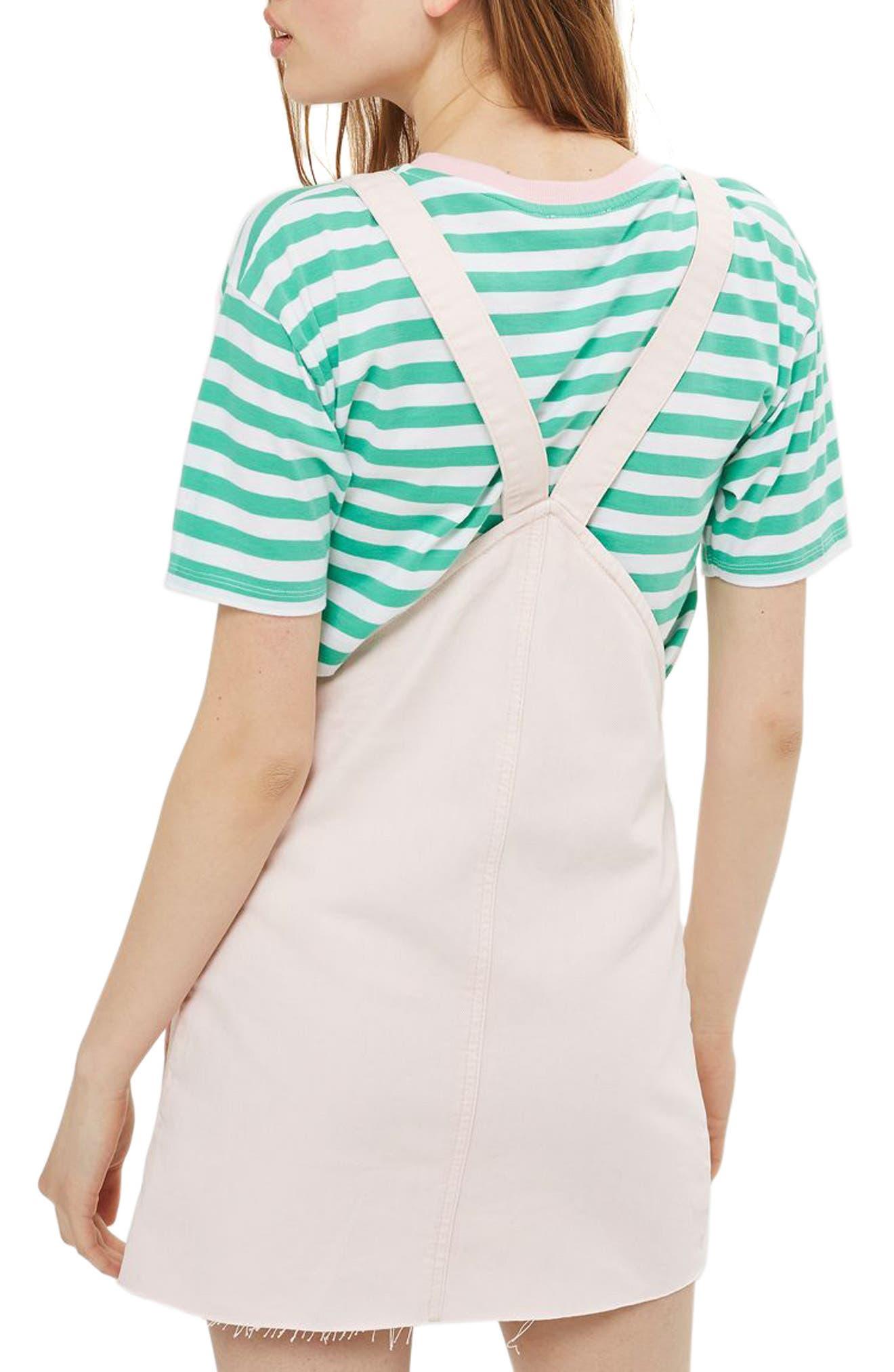 Alternate Image 2  - Topshop Denim Pinafore Dress (Regular & Petite)