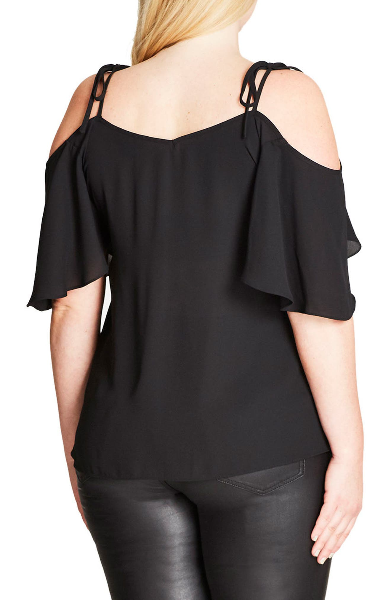Alternate Image 2  - City Chic Cold Shoulder Top (Plus Size)