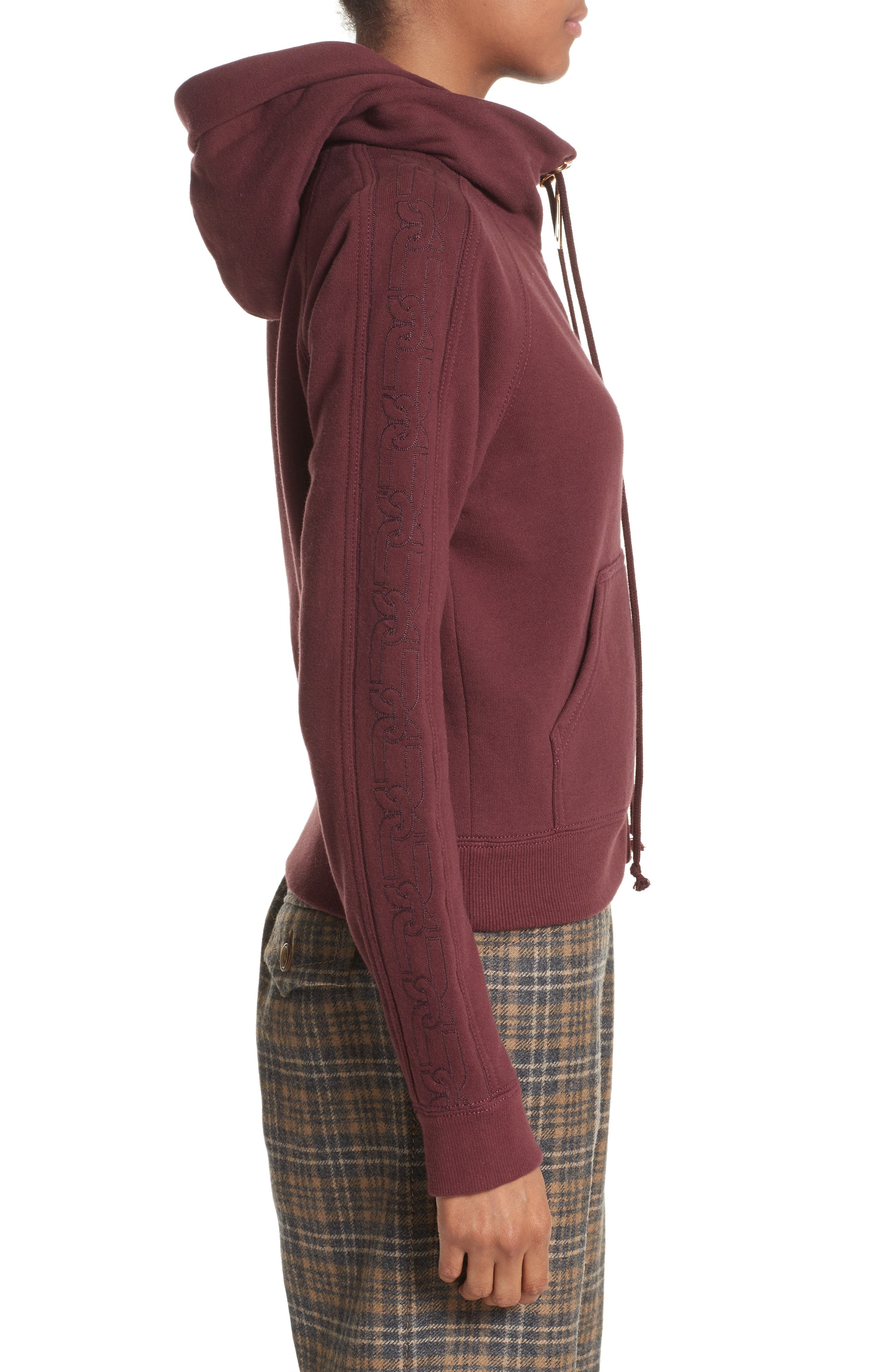 Embroidered Sleeve Hoodie,                             Alternate thumbnail 3, color,                             Burgundy
