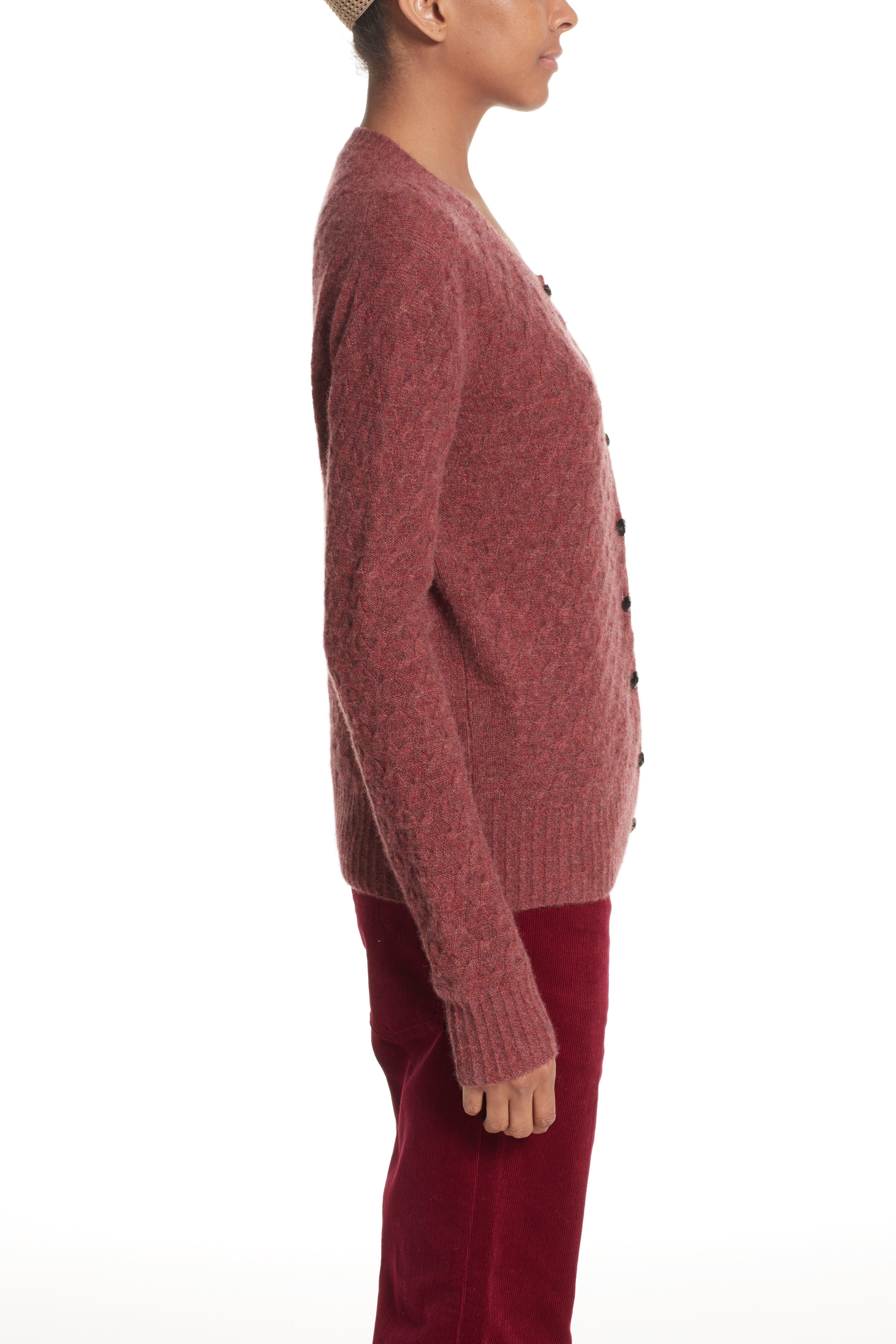 Heart Button Cashmere Cardigan,                             Alternate thumbnail 3, color,                             Pink