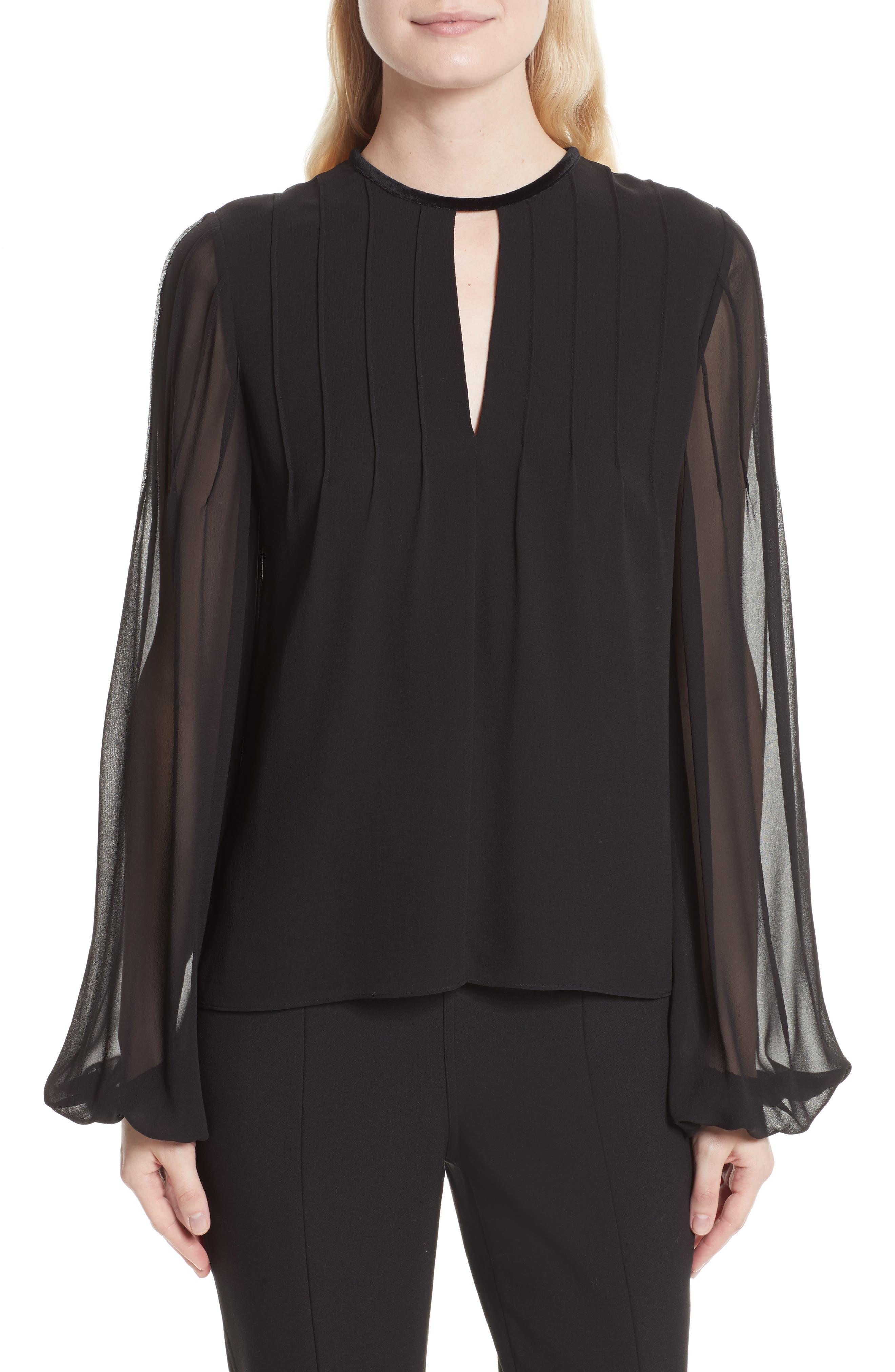 Dante Silk Blouse,                         Main,                         color, Black