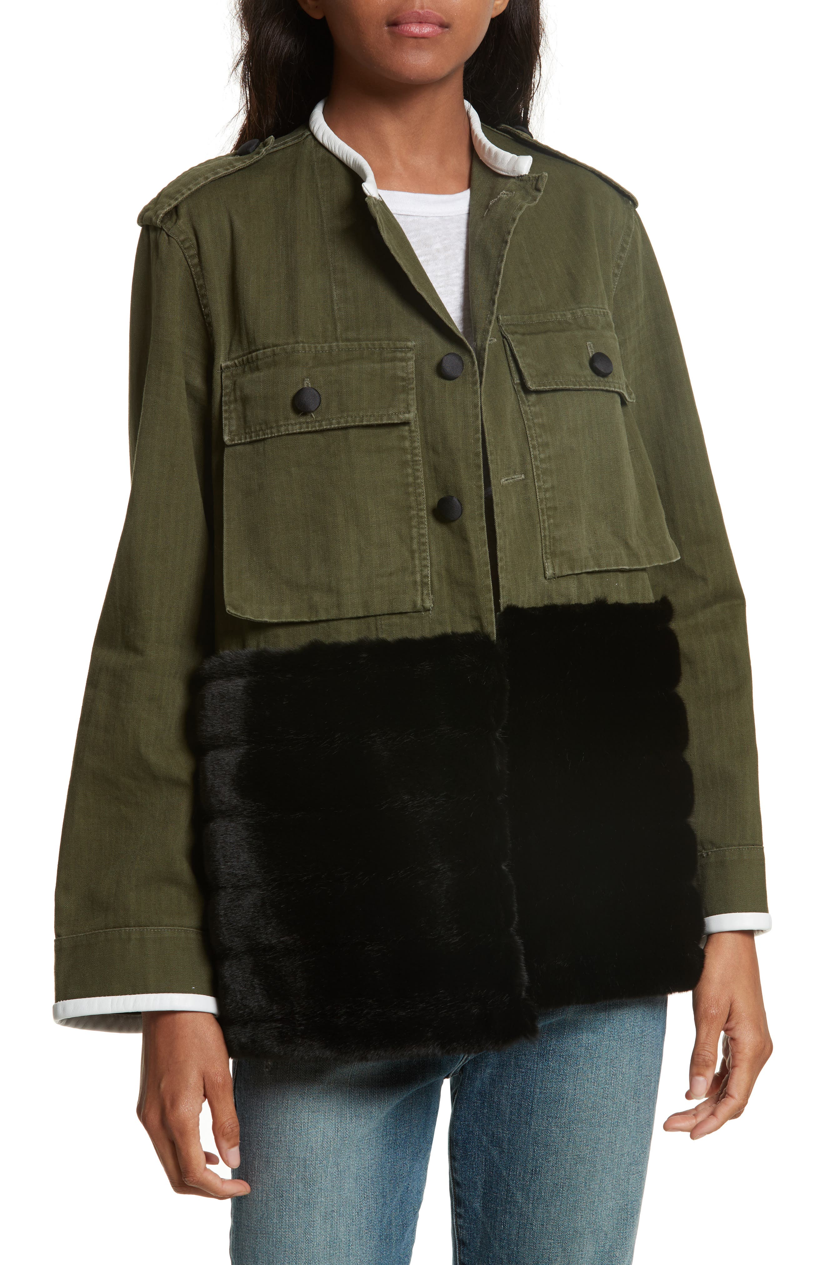 Vintage Army Jacket with Faux Fur Trim,                         Main,                         color, Olive