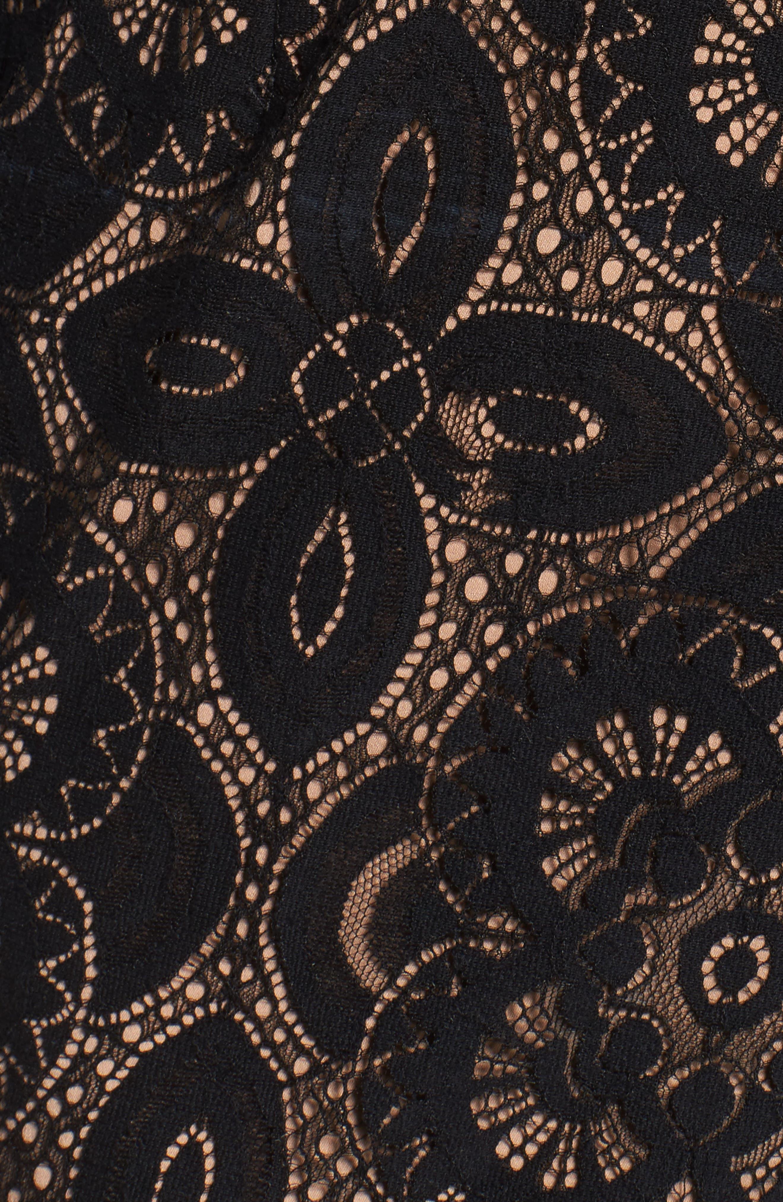 V-Neck Lace Sheath Dress,                             Alternate thumbnail 5, color,                             Black