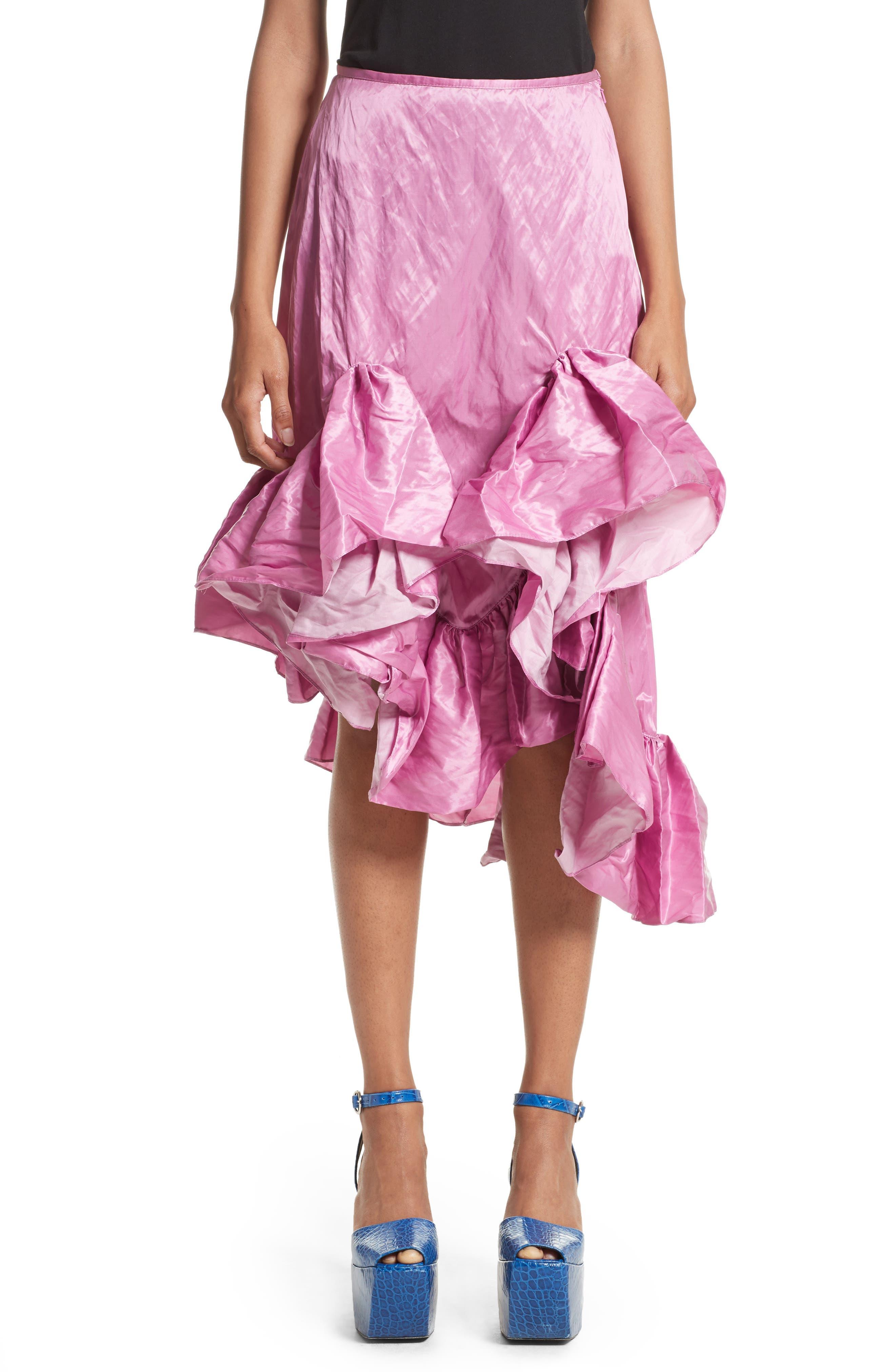 Marques'Almeida Asymmetrical Ruffle Taffeta Skirt,                             Main thumbnail 1, color,                             Pink