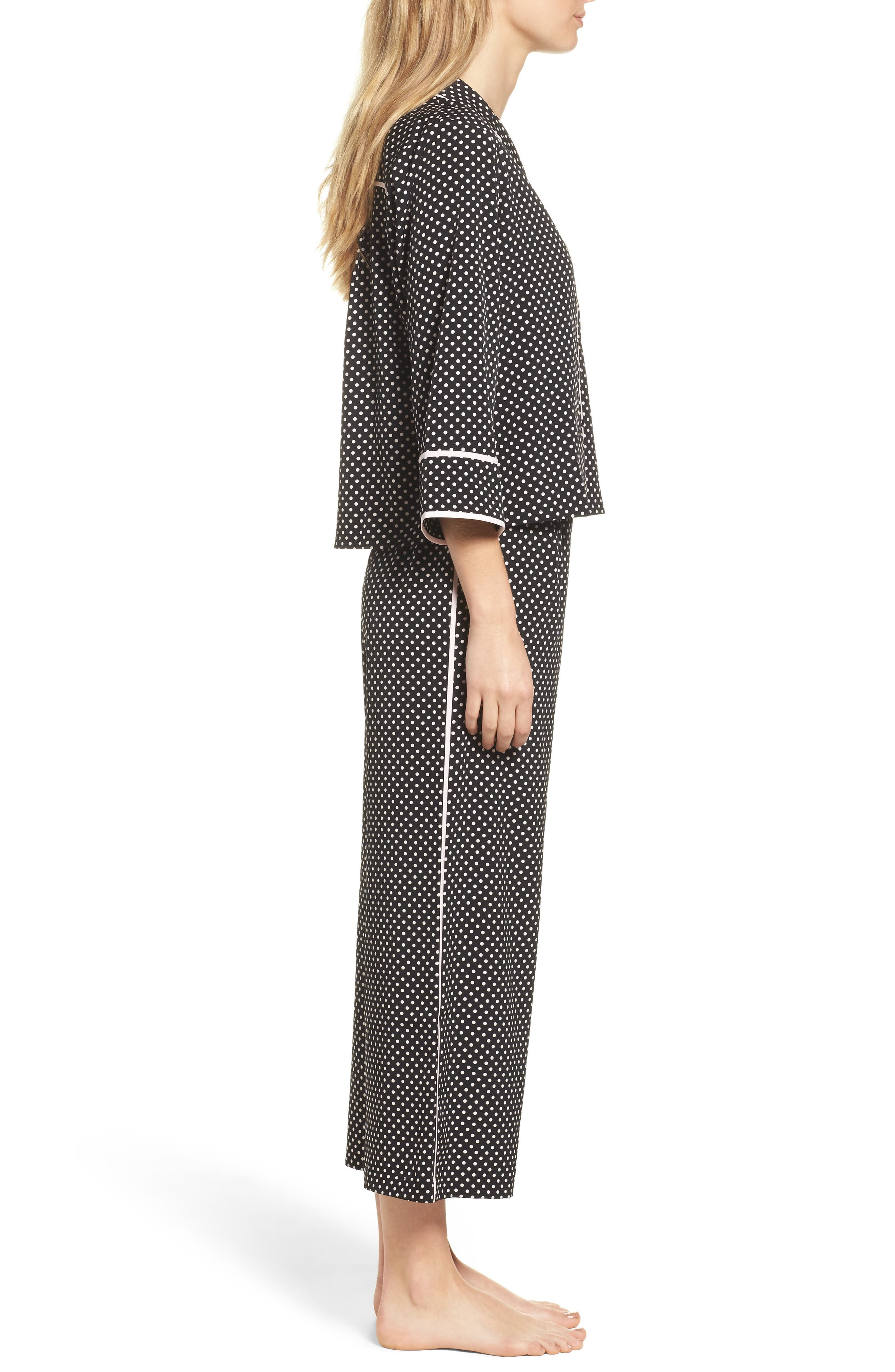 crop pajamas,                             Alternate thumbnail 3, color,                             Black
