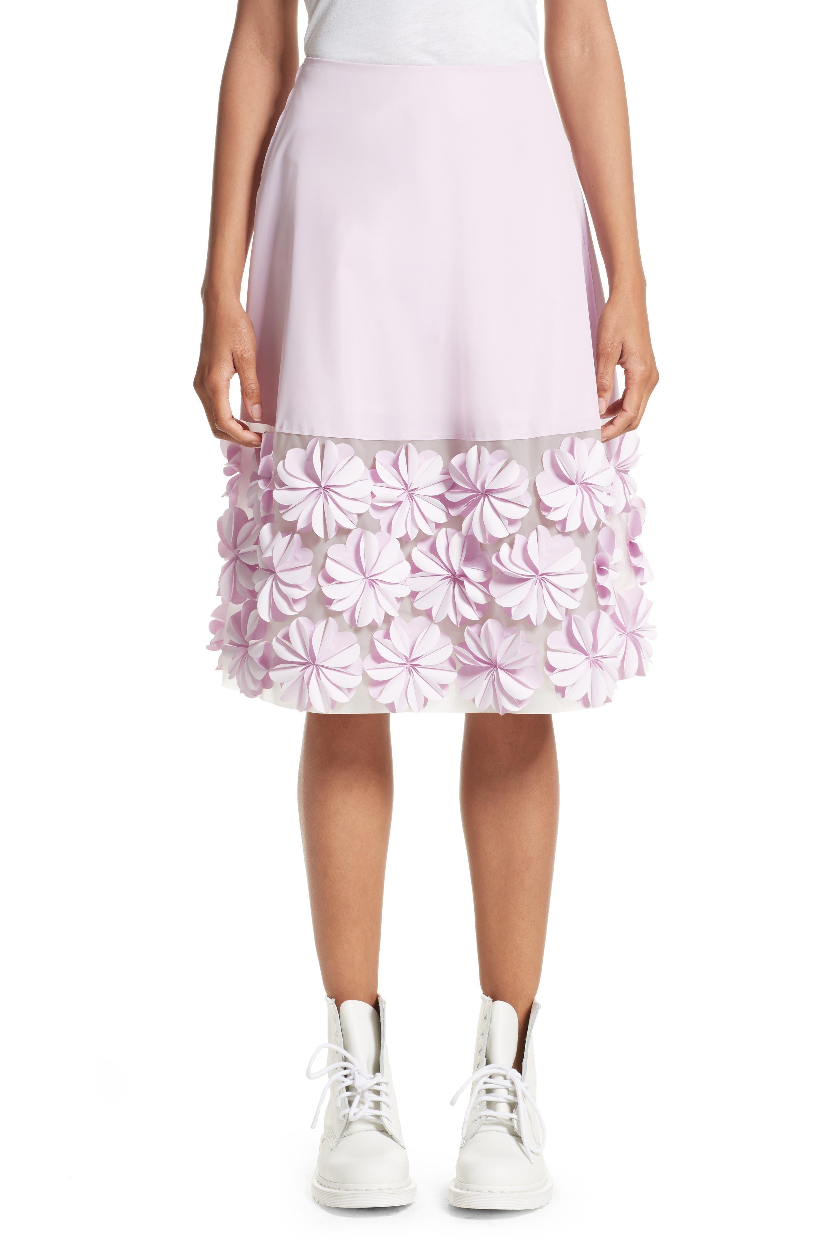 PASKAL Reflective Floral Appliqué Skirt