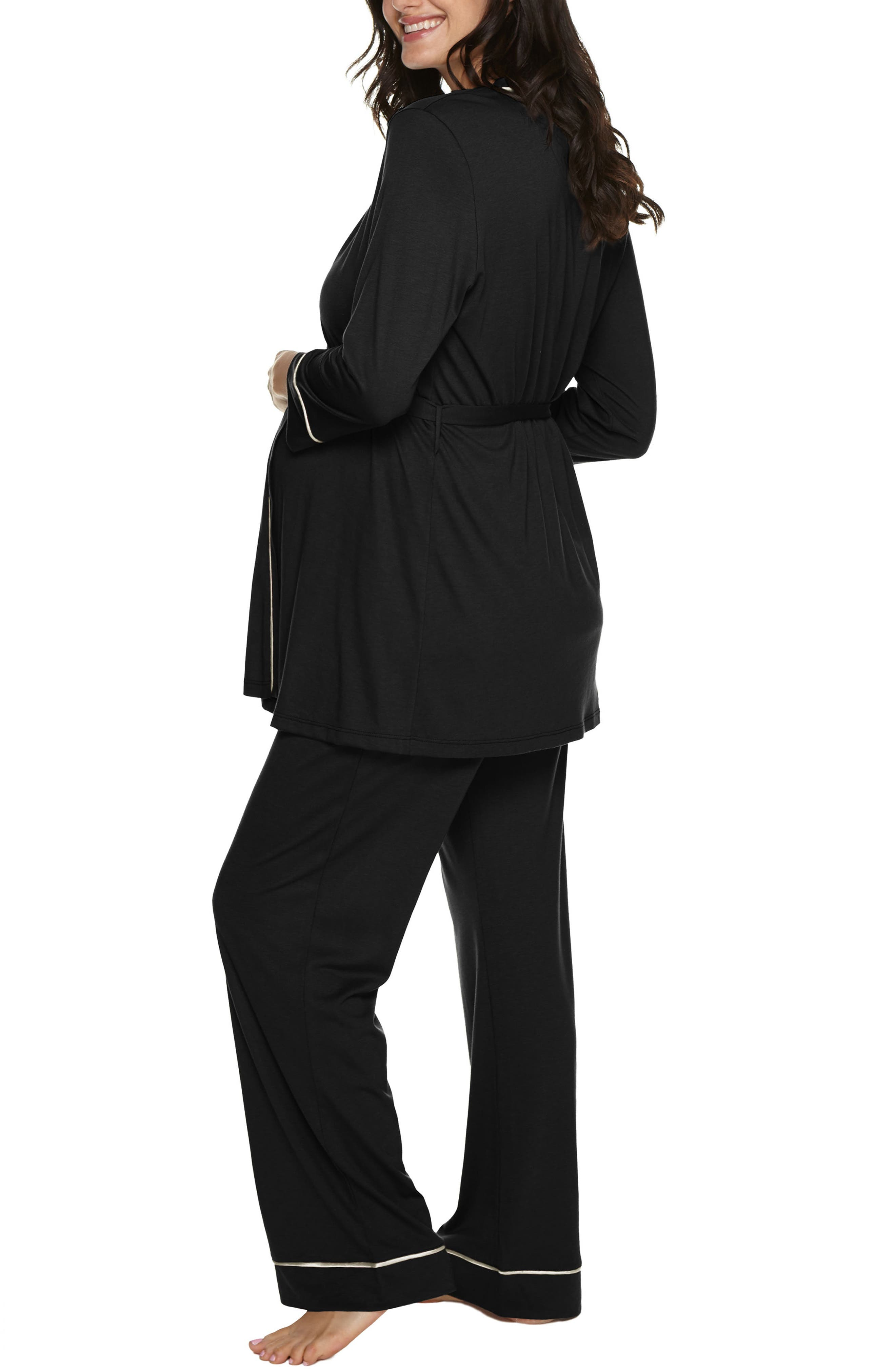 Bella 3-Piece Maternity Pajamas,                             Alternate thumbnail 3, color,                             Black/ Ivory
