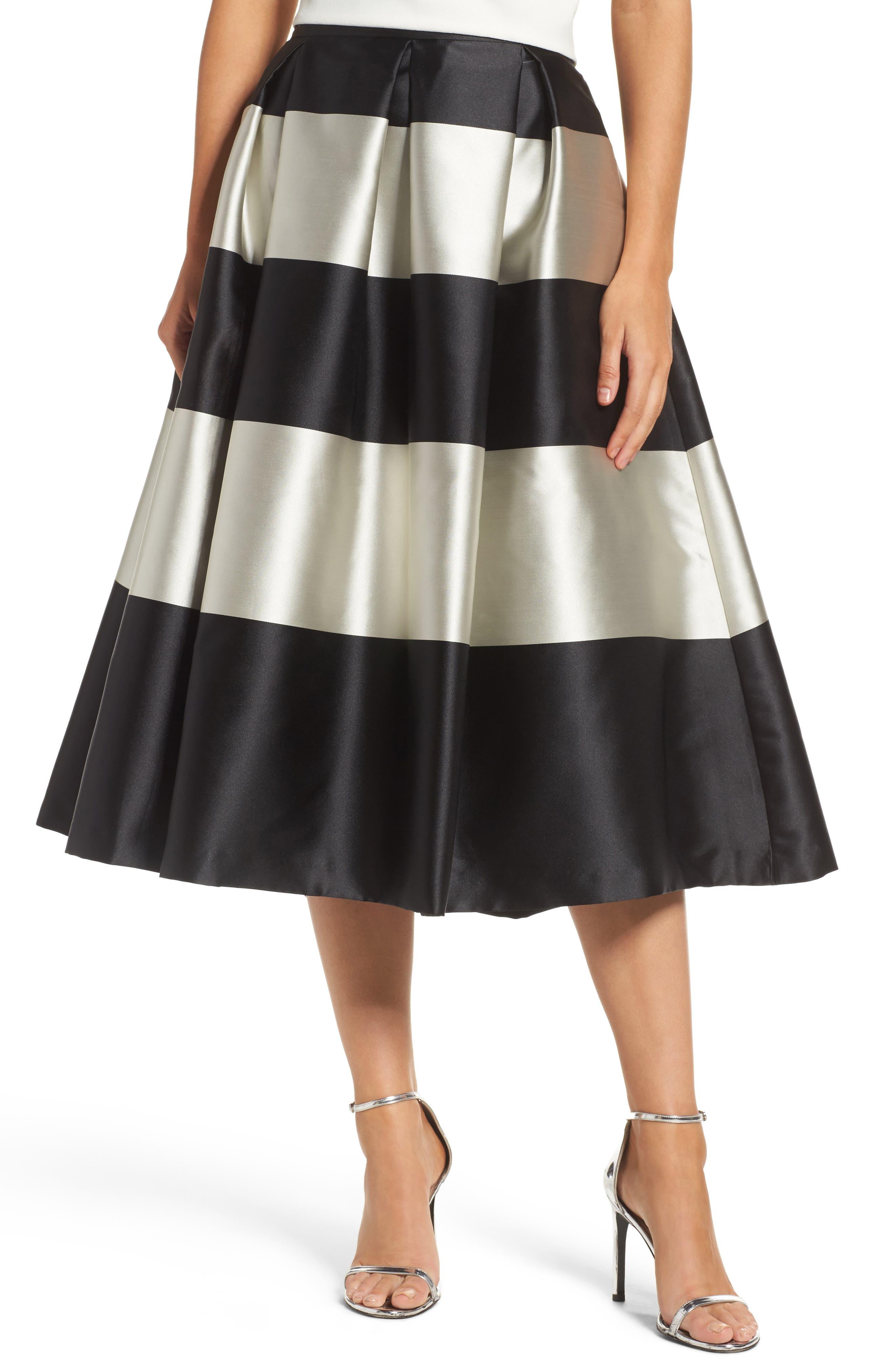 Stripe Pleated Midi Skirt,                         Main,                         color, Black/ Ivory