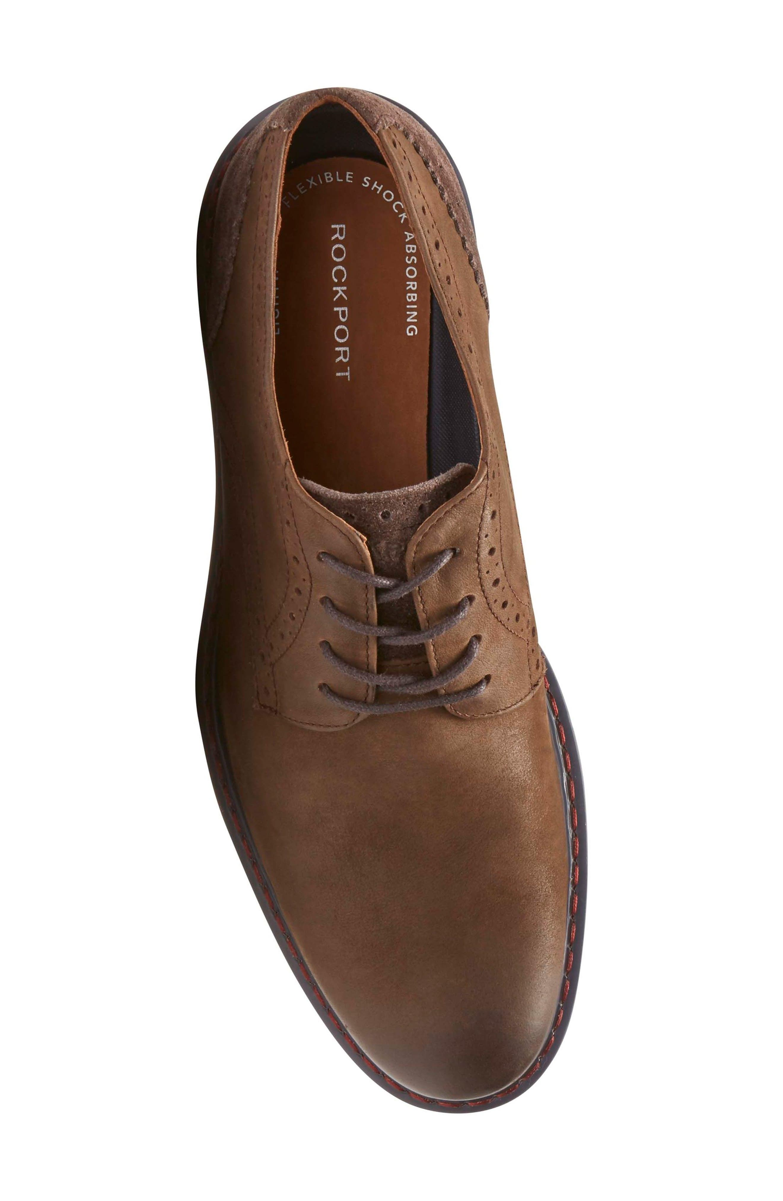 Jaxson Plain Toe Derby,                             Alternate thumbnail 5, color,                             Brown Leather