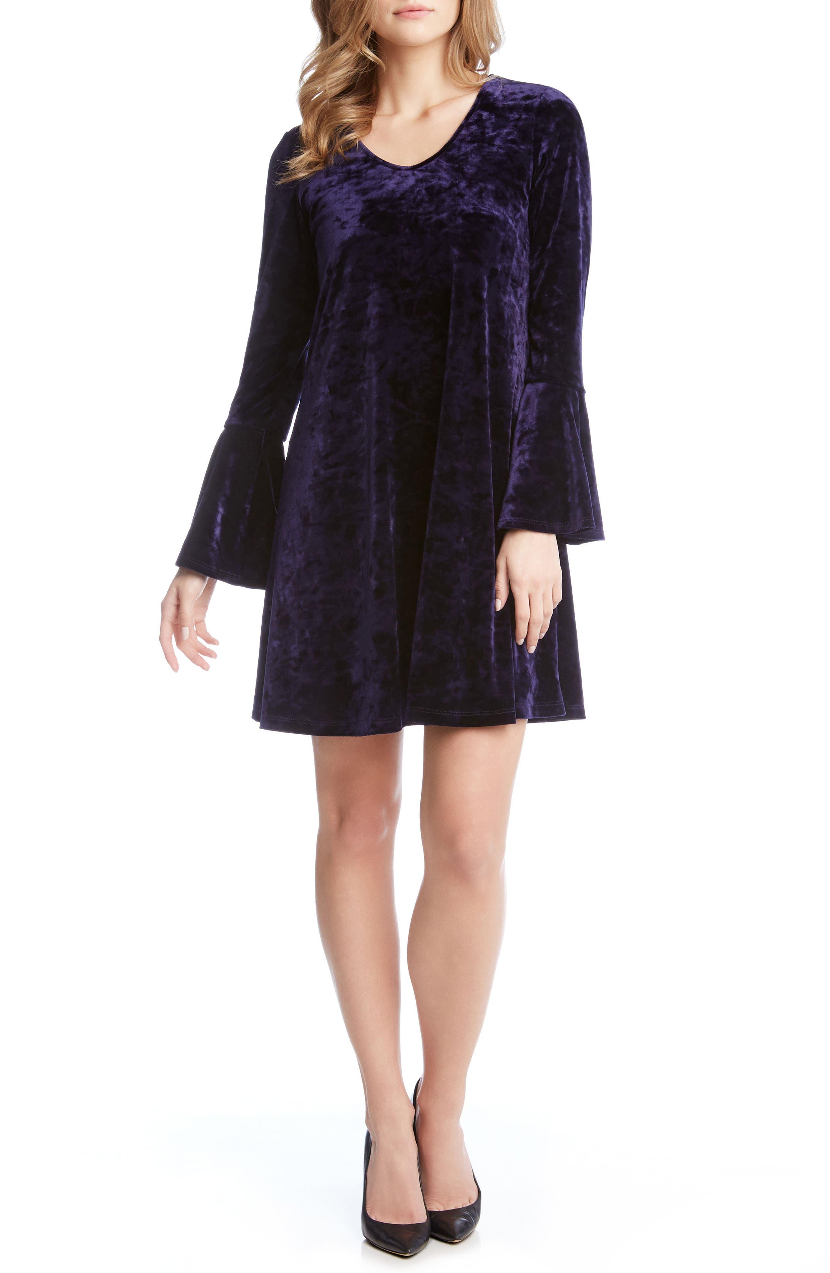Alternate Image 2  - Karen Kane Bell Sleeve Velvet Dress