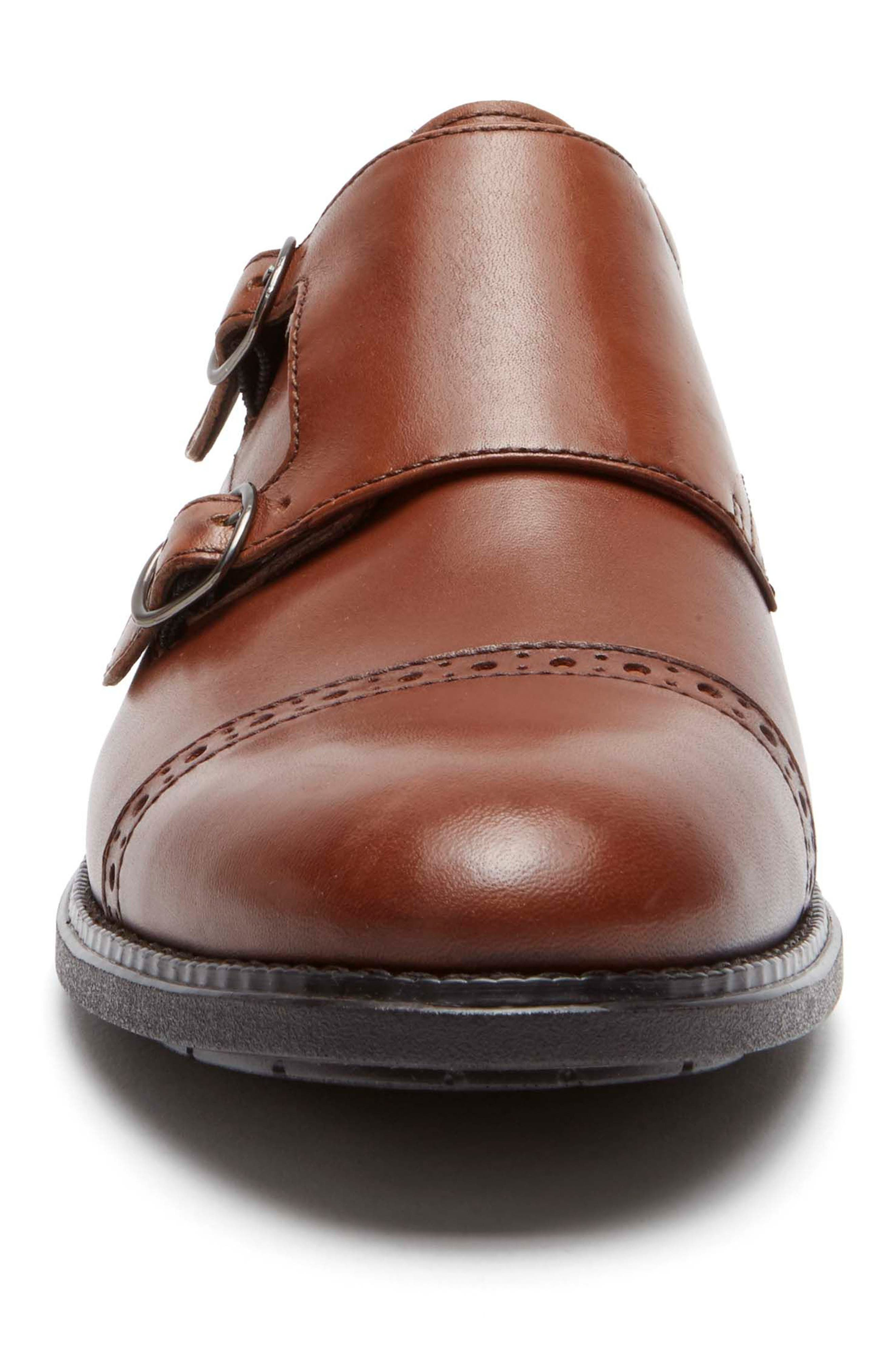 Madson Double Monk Strap Shoe,                             Alternate thumbnail 4, color,                             Tan Leather