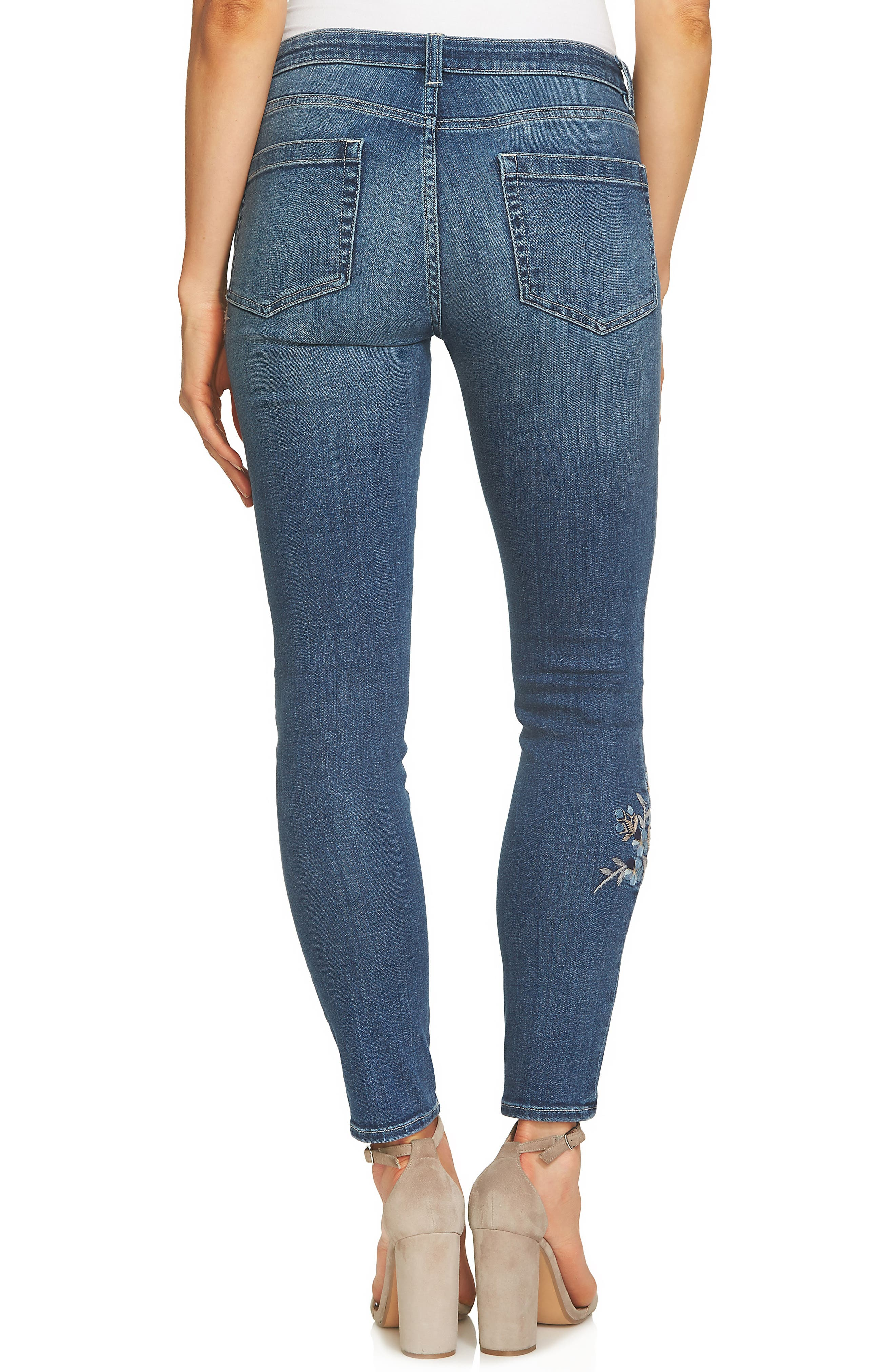 Alternate Image 2  - CeCe Floral Embroidered Skinny Jeans