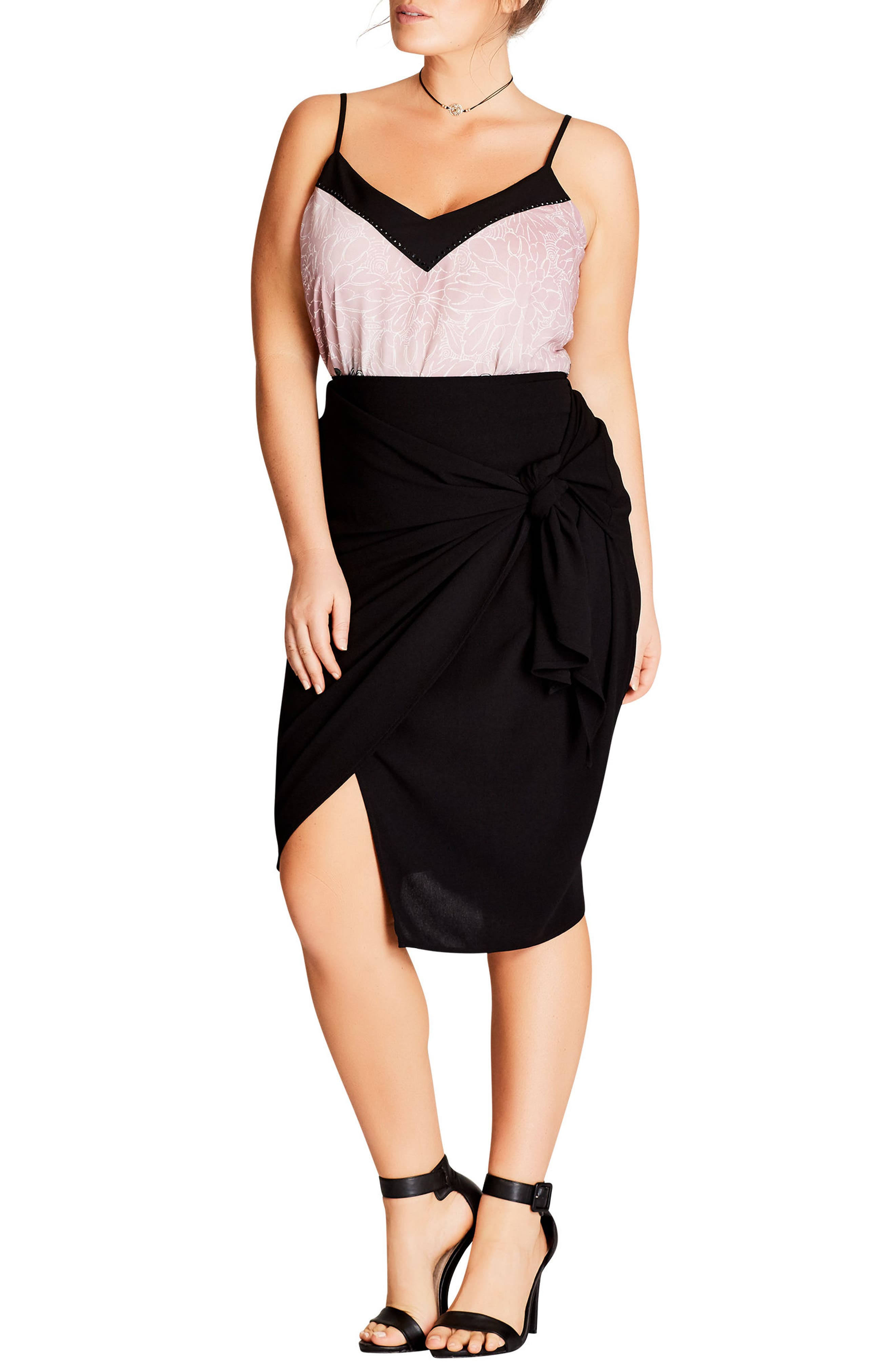 Wrapped Up Pencil Skirt,                         Main,                         color, Black