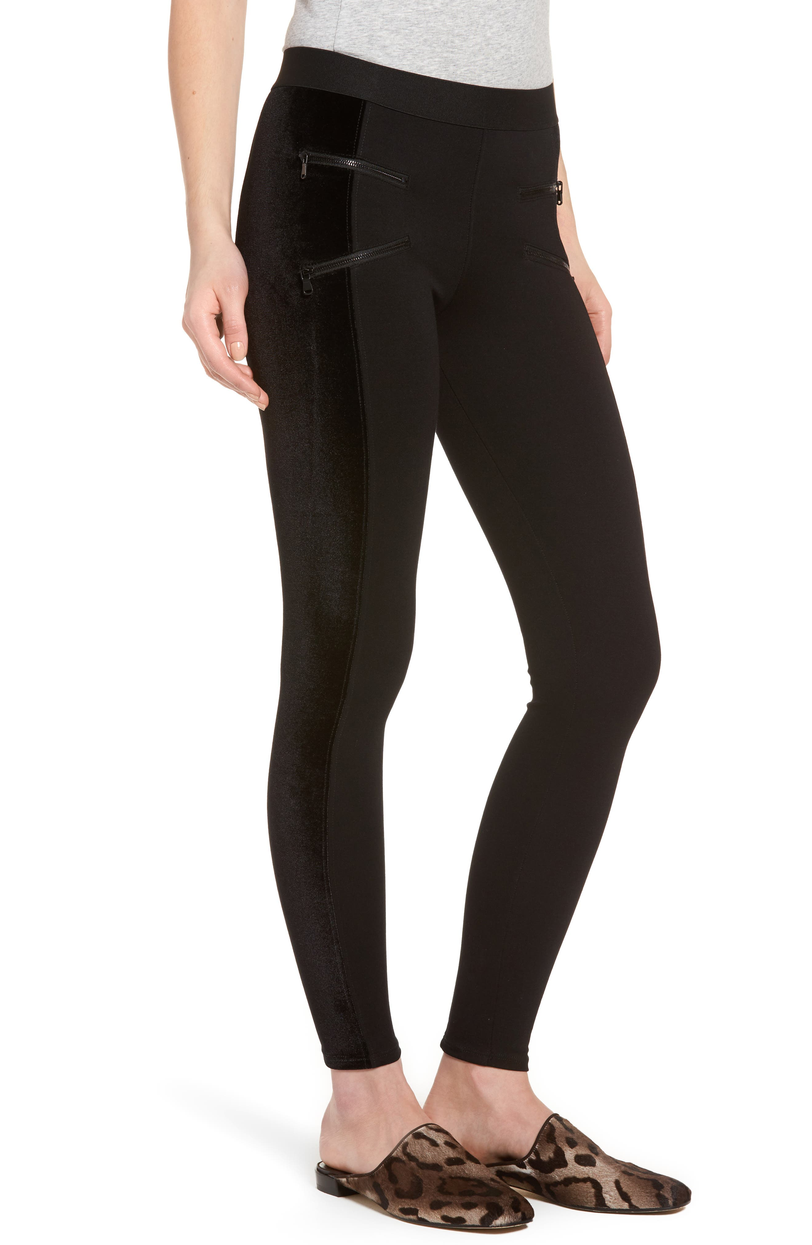 Starburst Zip Combo Leggings,                             Alternate thumbnail 3, color,                             Black