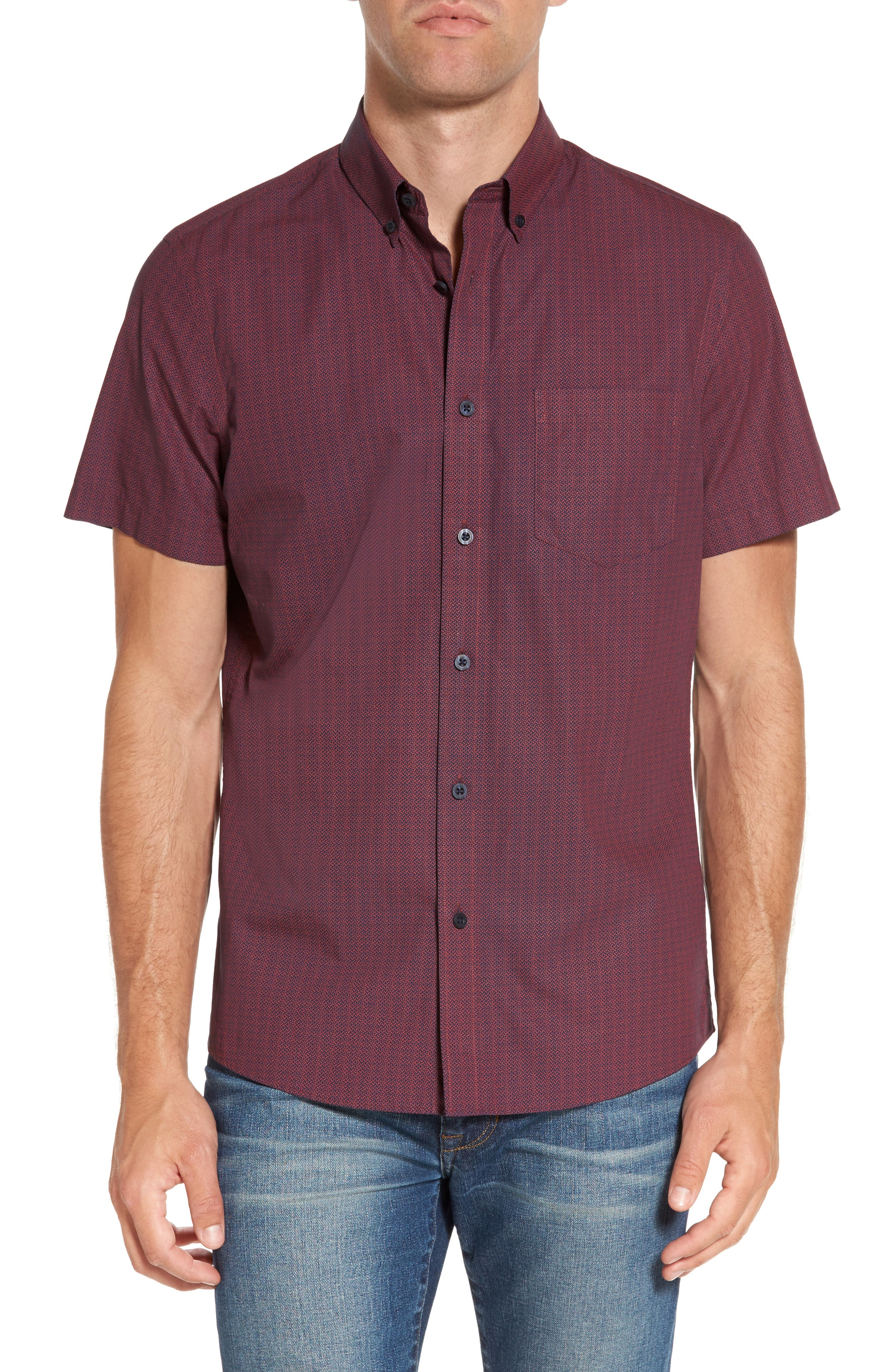 Slim Fit Print Sport Shirt,                         Main,                         color, Red Ruby Micro Triangle