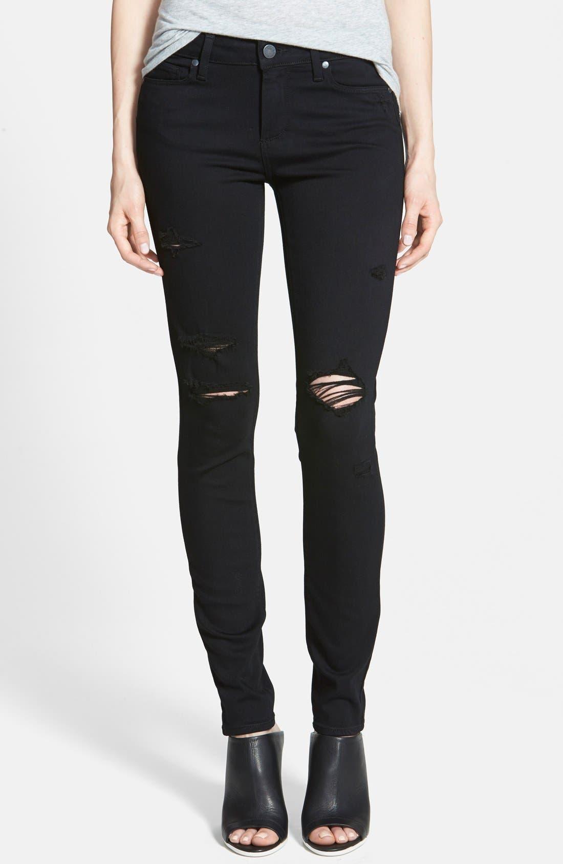 Transcend - Verdugo Ultra Skinny Jeans,                             Main thumbnail 1, color,                             Black Destructed