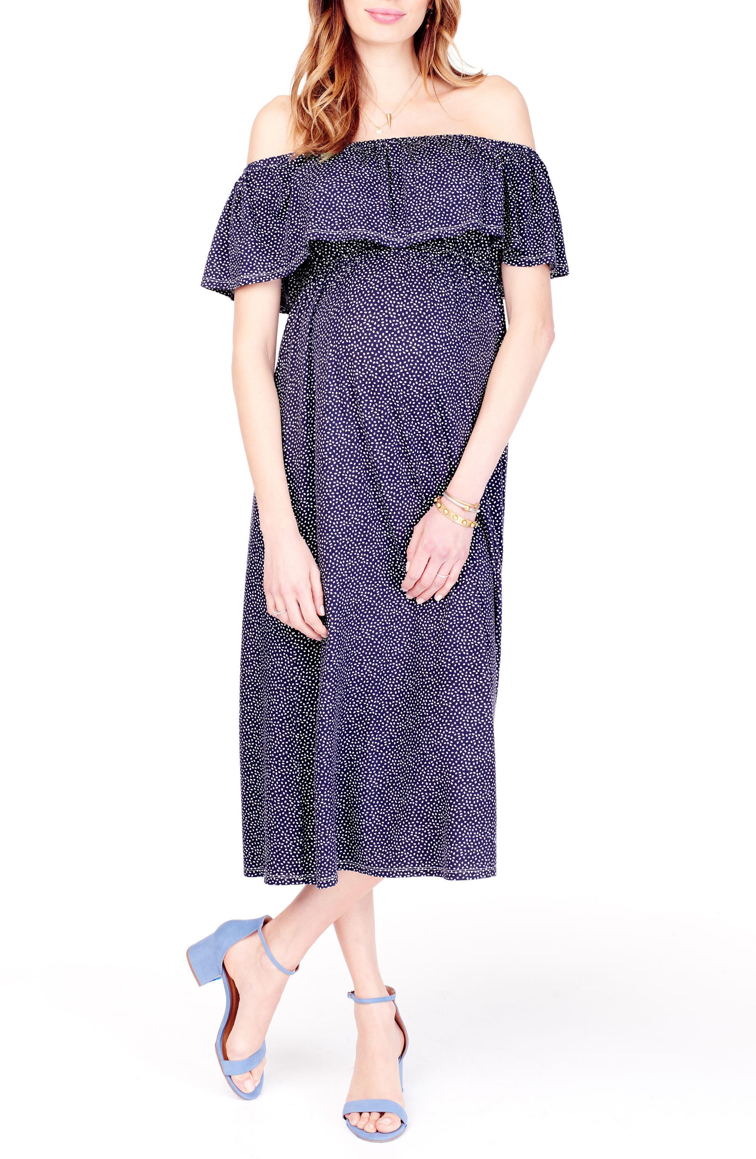 Off the Shoulder Maternity Midi Dress,                             Main thumbnail 1, color,                             Navy Tossed Petal