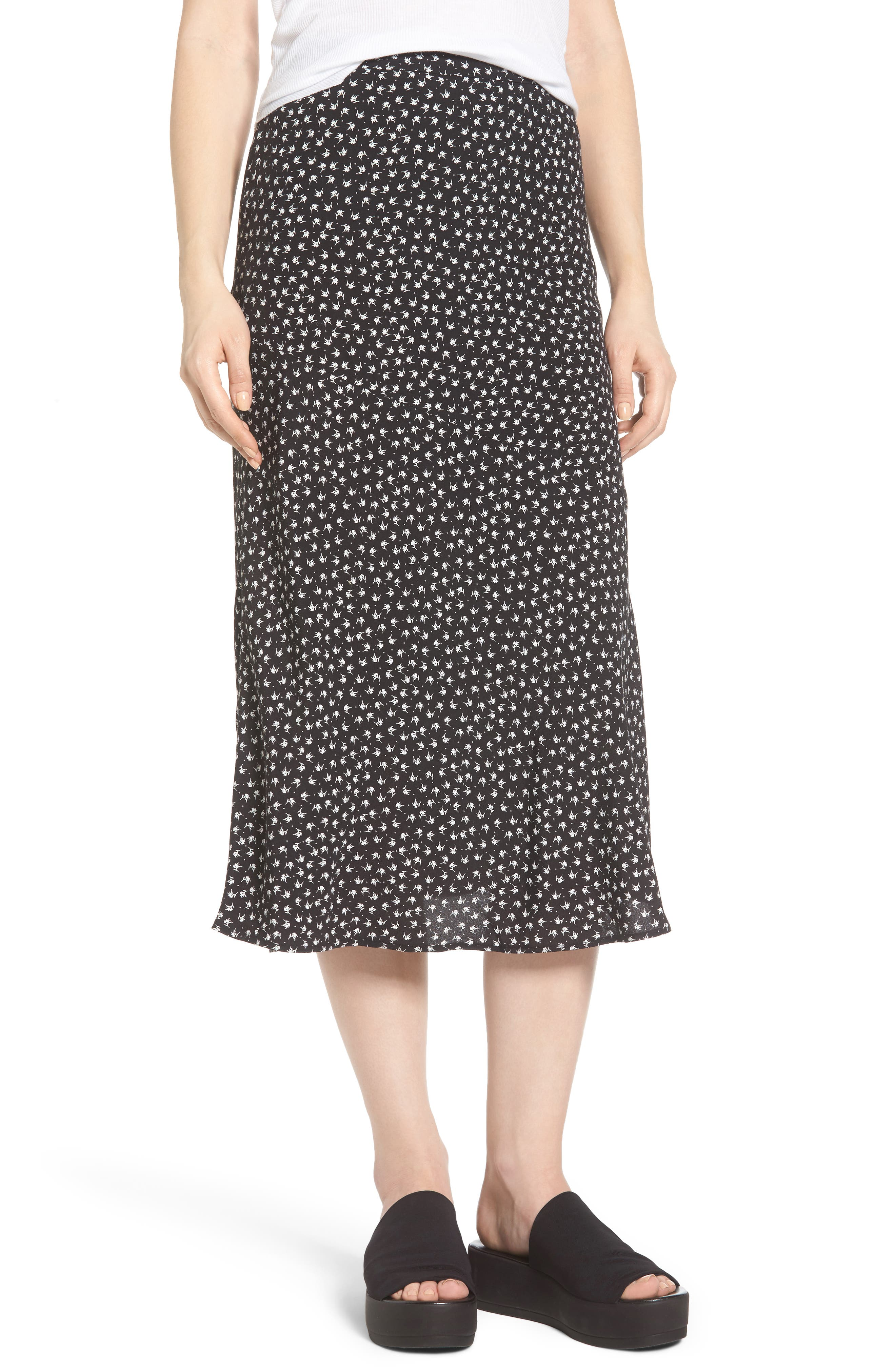 Print Bias Cut Skirt,                             Main thumbnail 1, color,                             Black Tsd Stem
