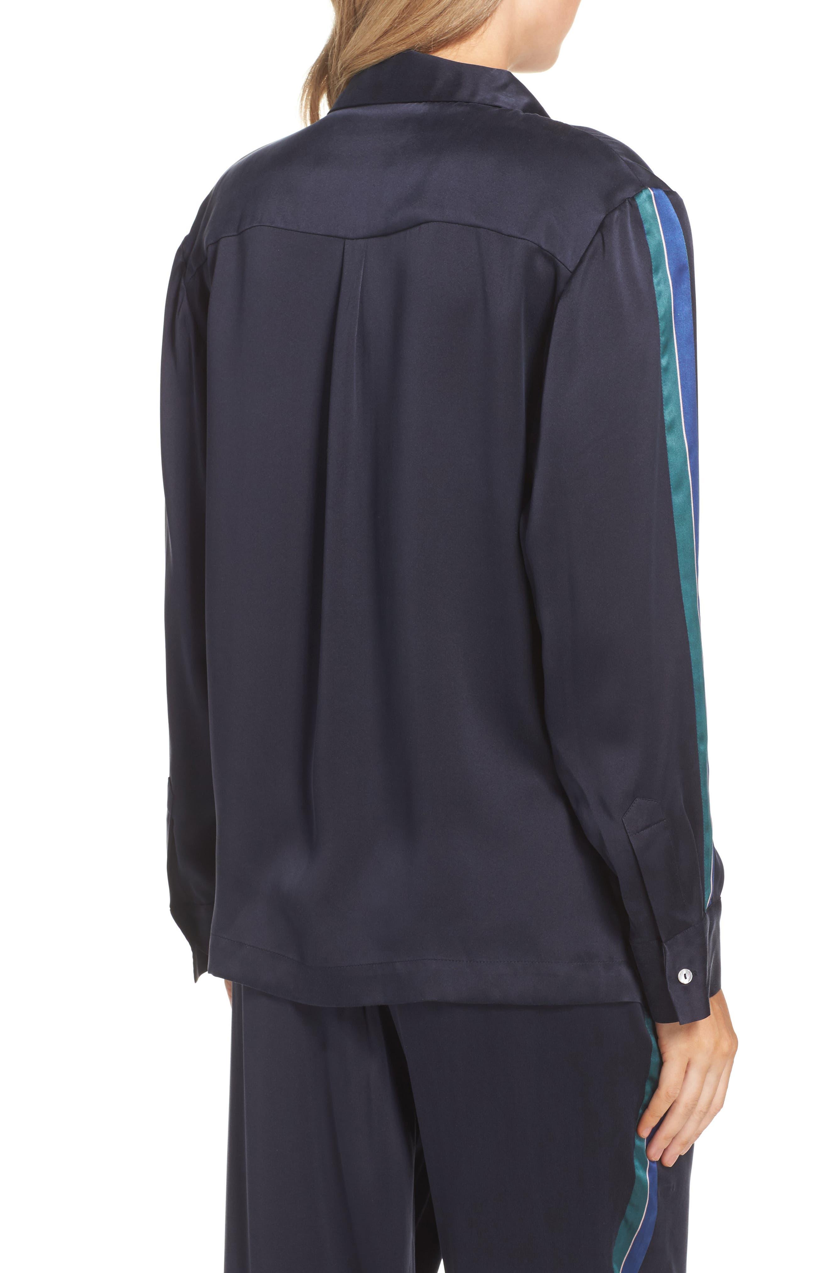 Silk Pajama Top,                             Alternate thumbnail 2, color,                             Midnight Bold Stripe