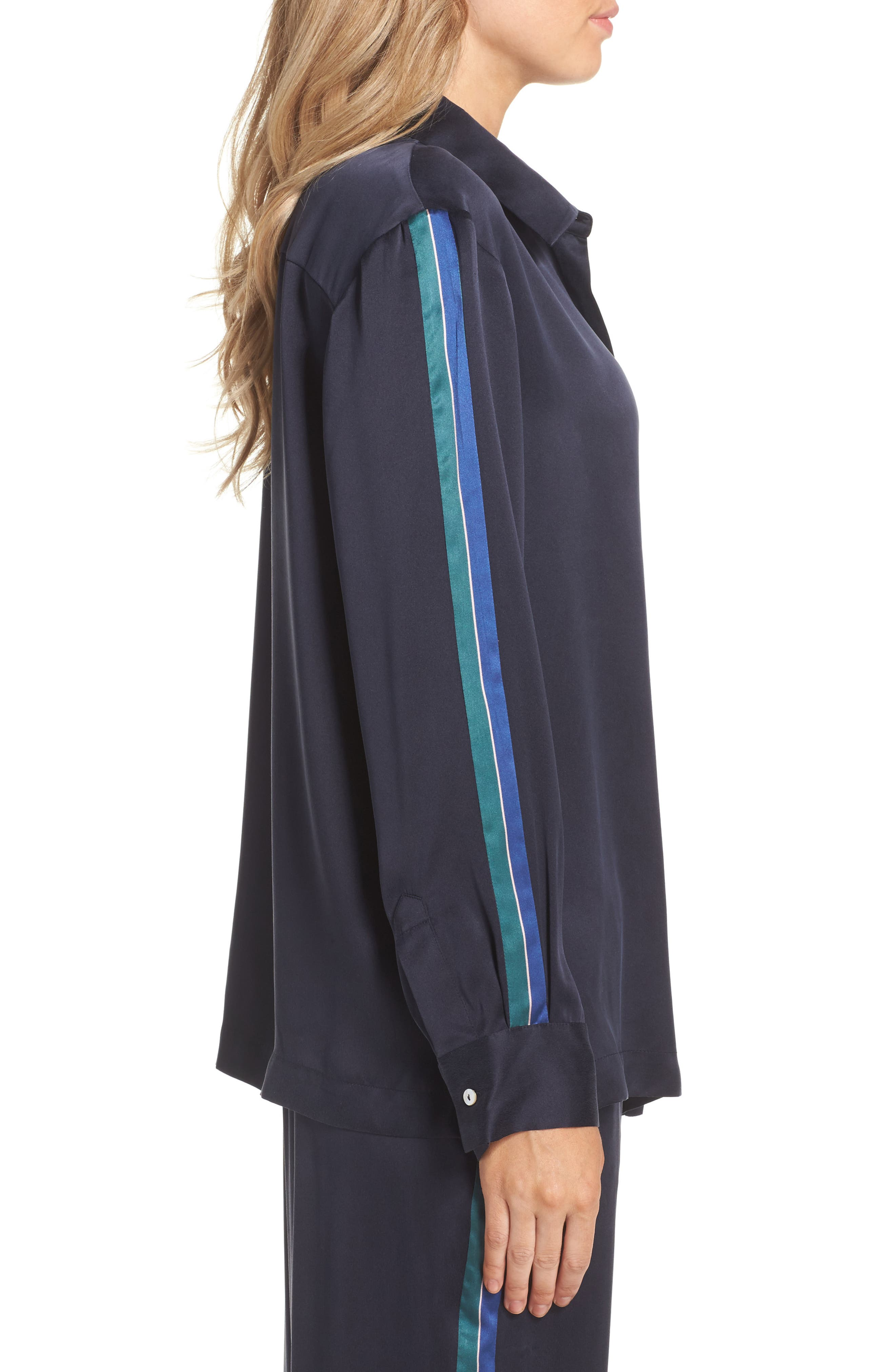 Silk Pajama Top,                             Alternate thumbnail 3, color,                             Midnight Bold Stripe