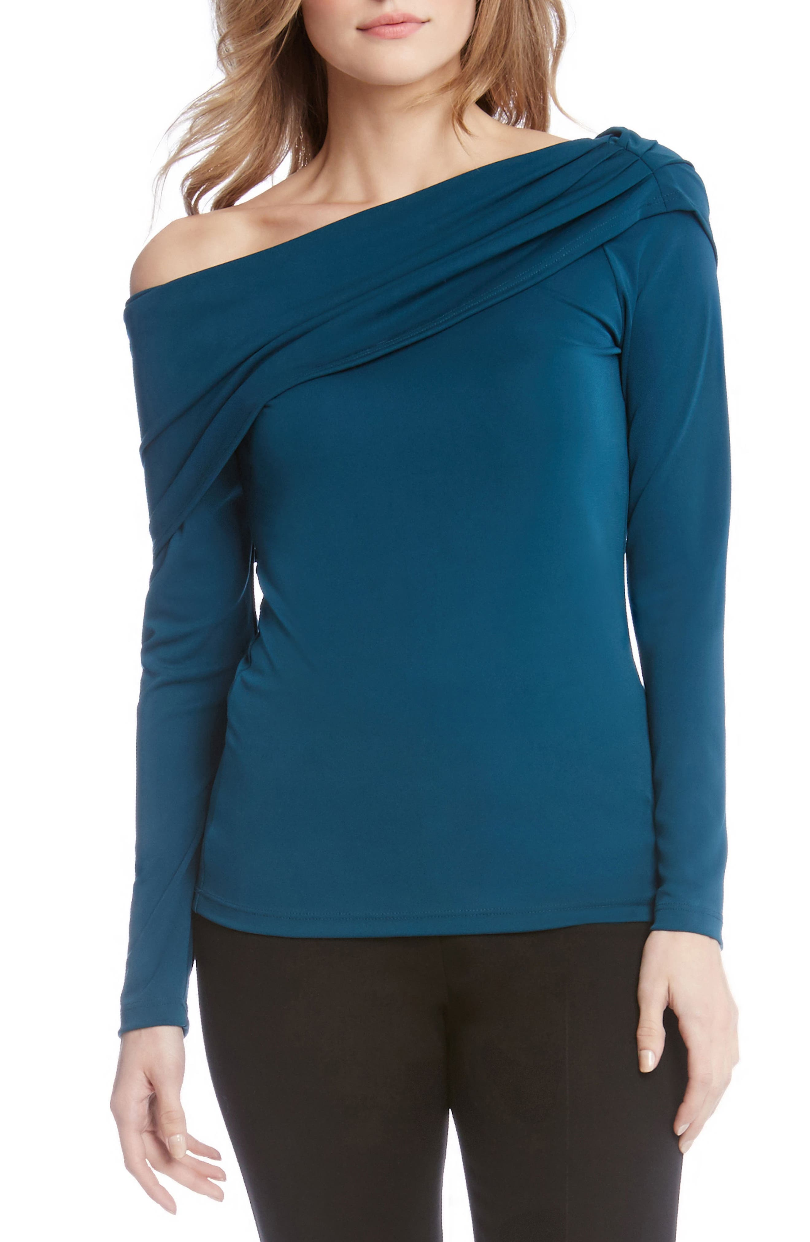 One-Shoulder Drape Top,                         Main,                         color, Teal