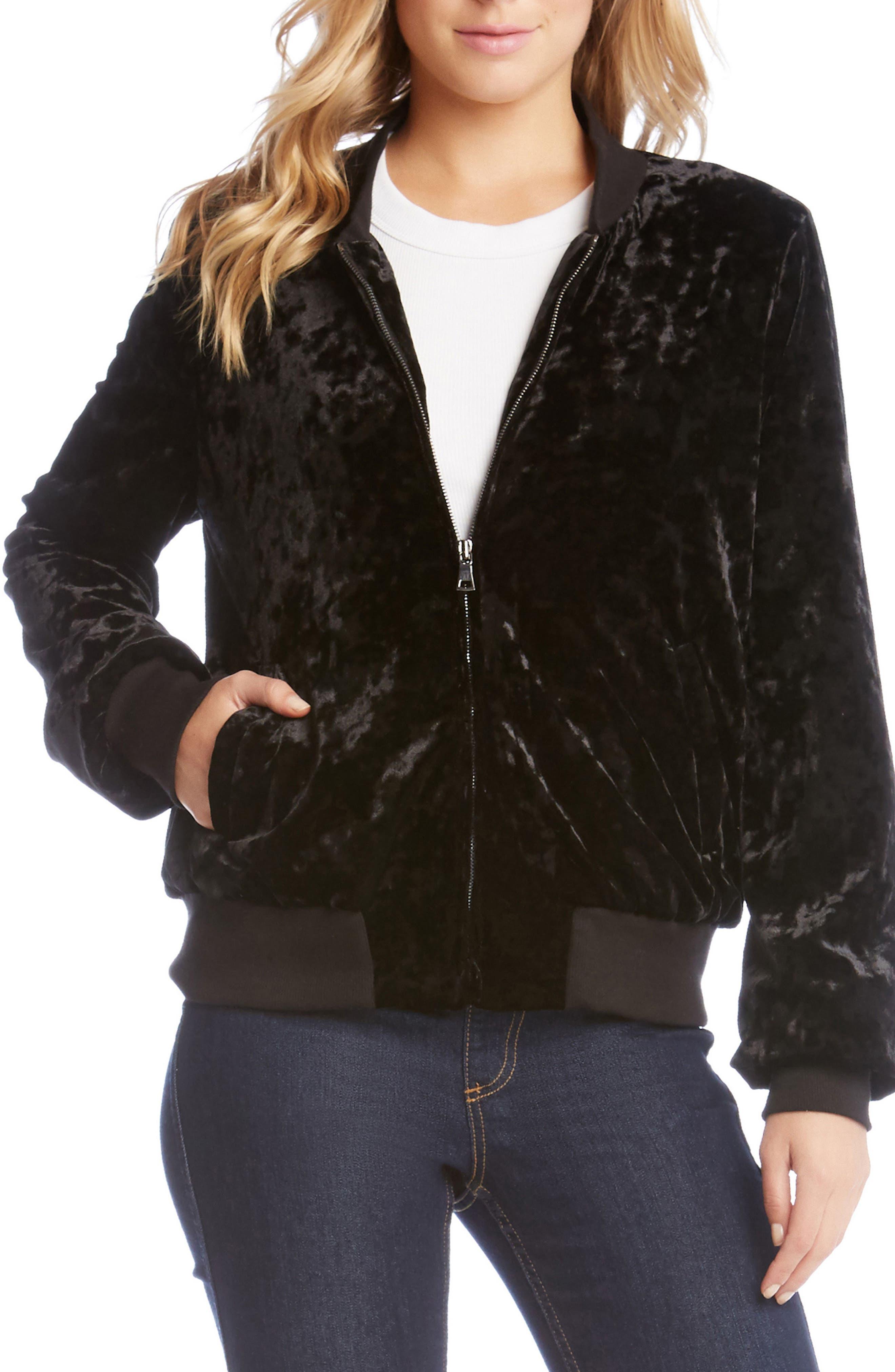 Main Image - Karen Kane Velvet Bomber Jacket