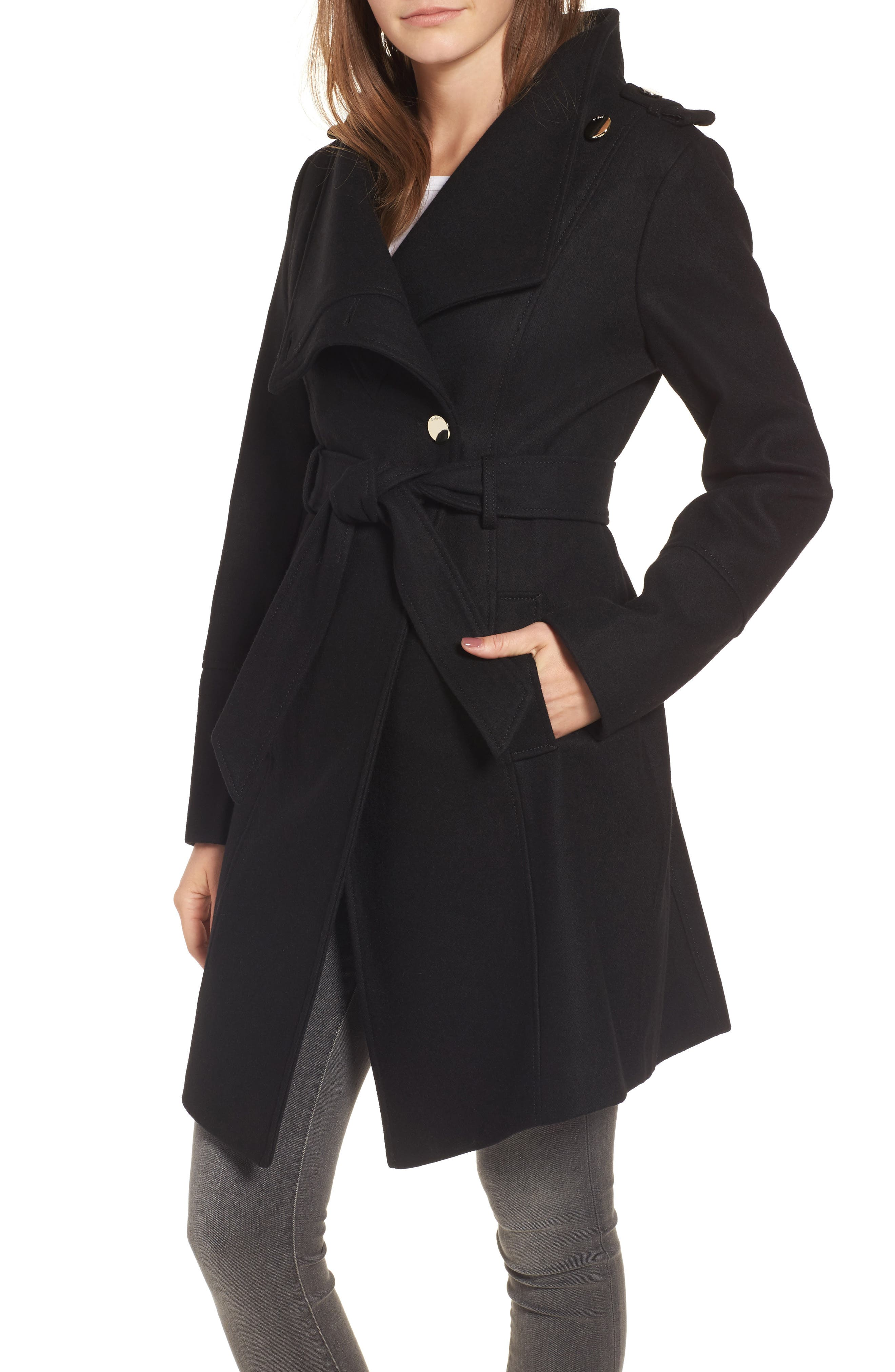 Wrap Trench Coat,                         Main,                         color, Black