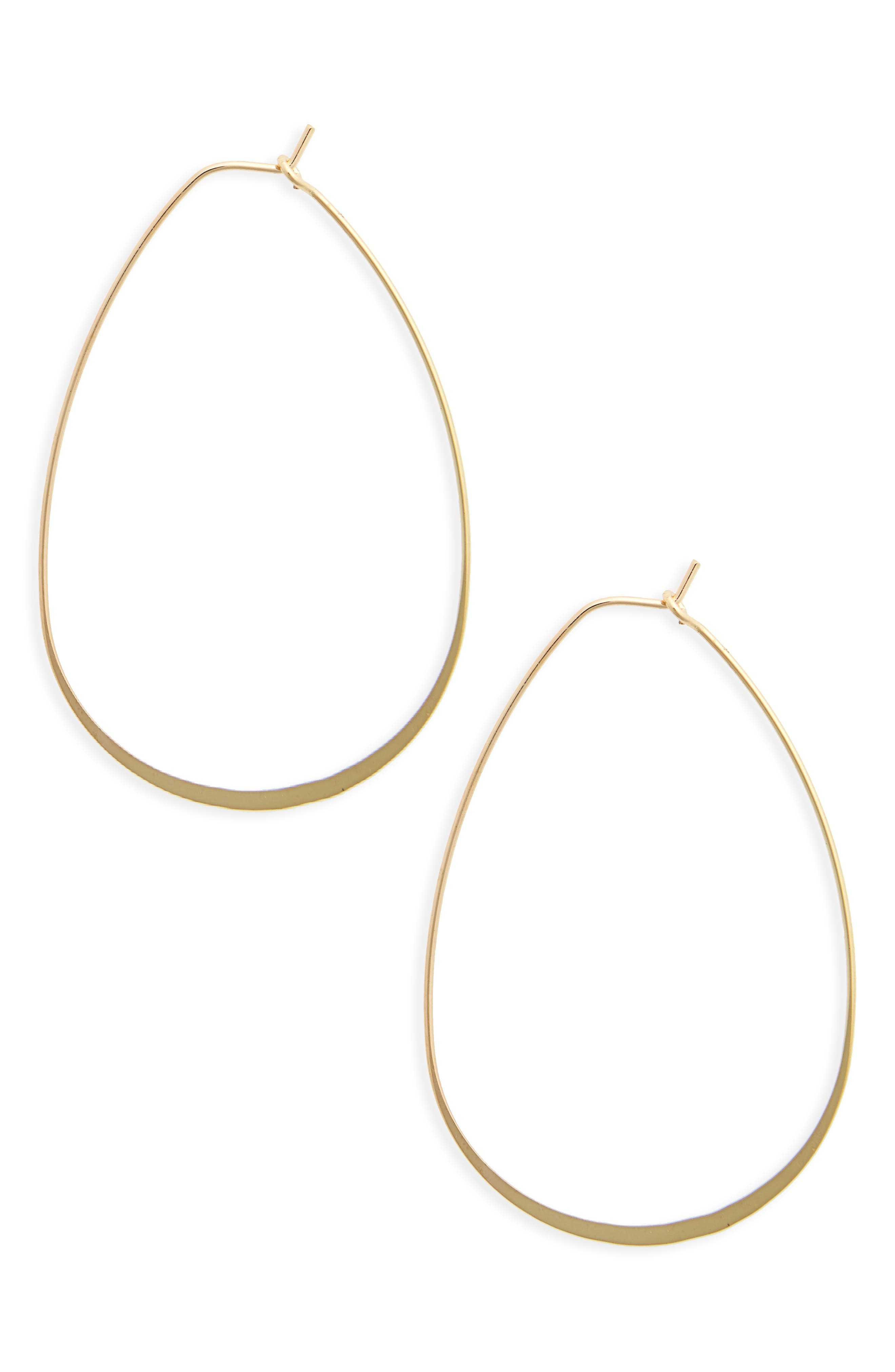 Flat Oval Hoop Earrings,                         Main,                         color, Gold
