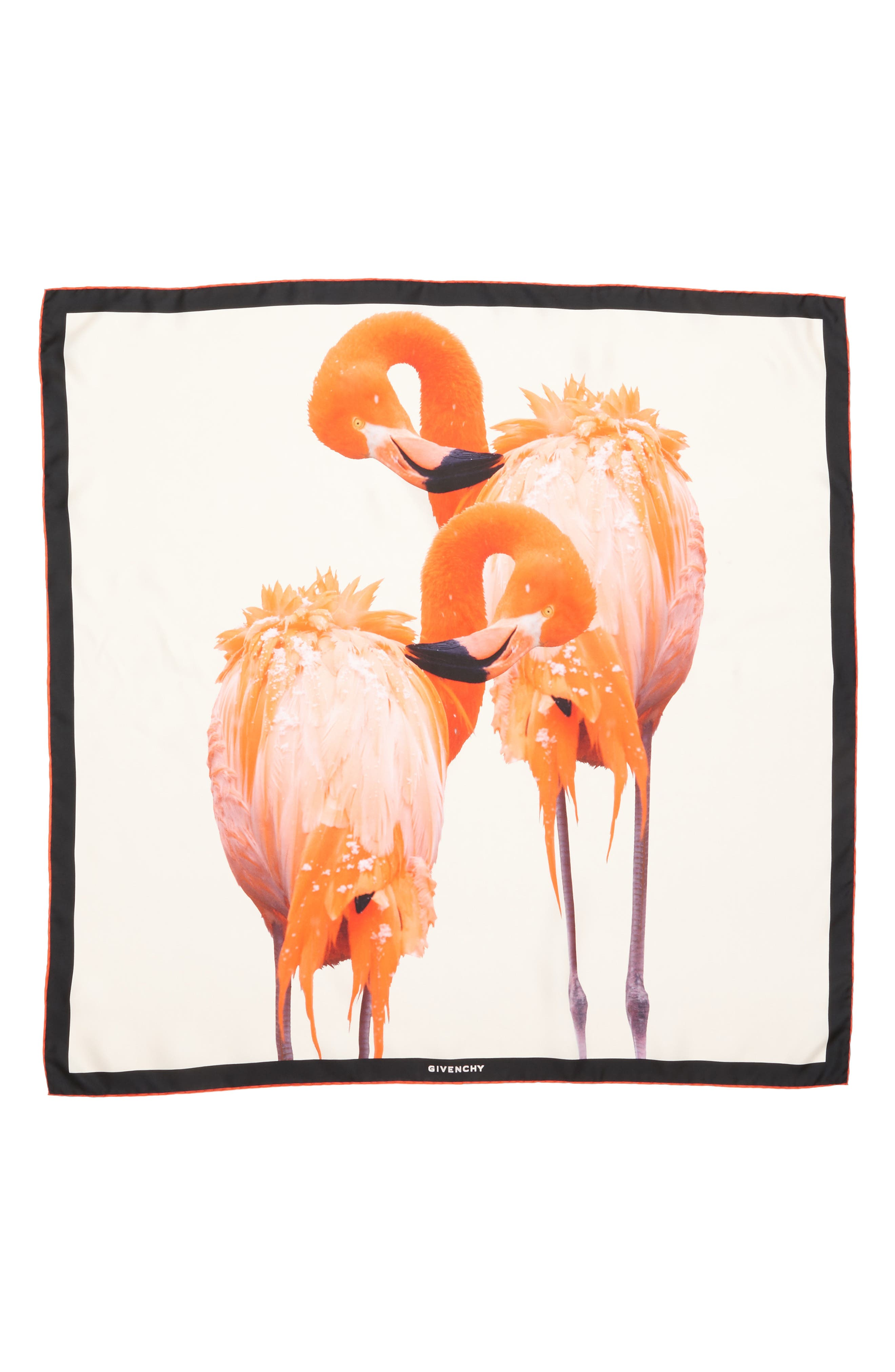 Flamingos Silk Scarf,                         Main,                         color, Ivory/ Pink
