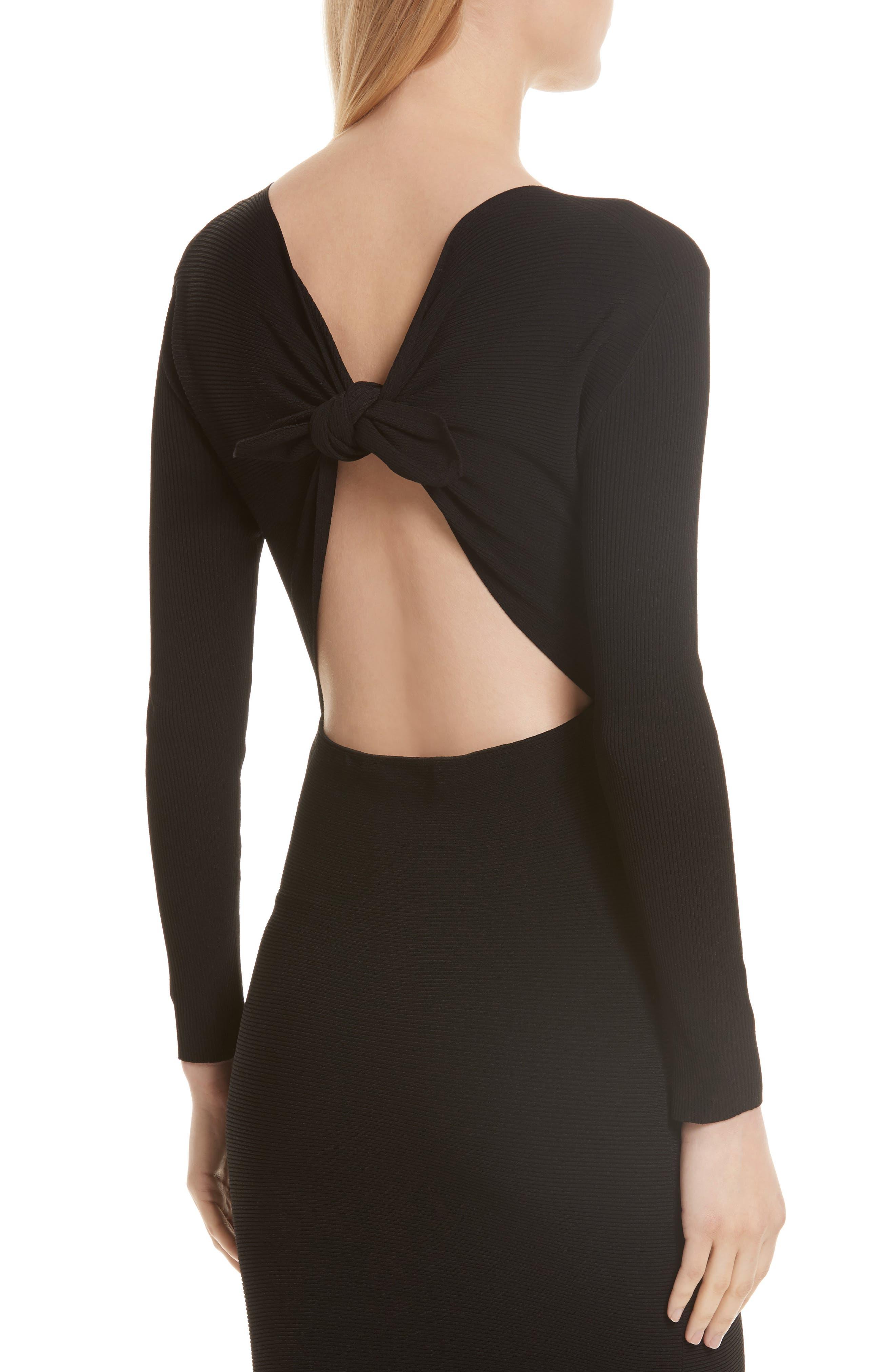 Technical Rib Open Back Dress,                             Alternate thumbnail 4, color,                             Black