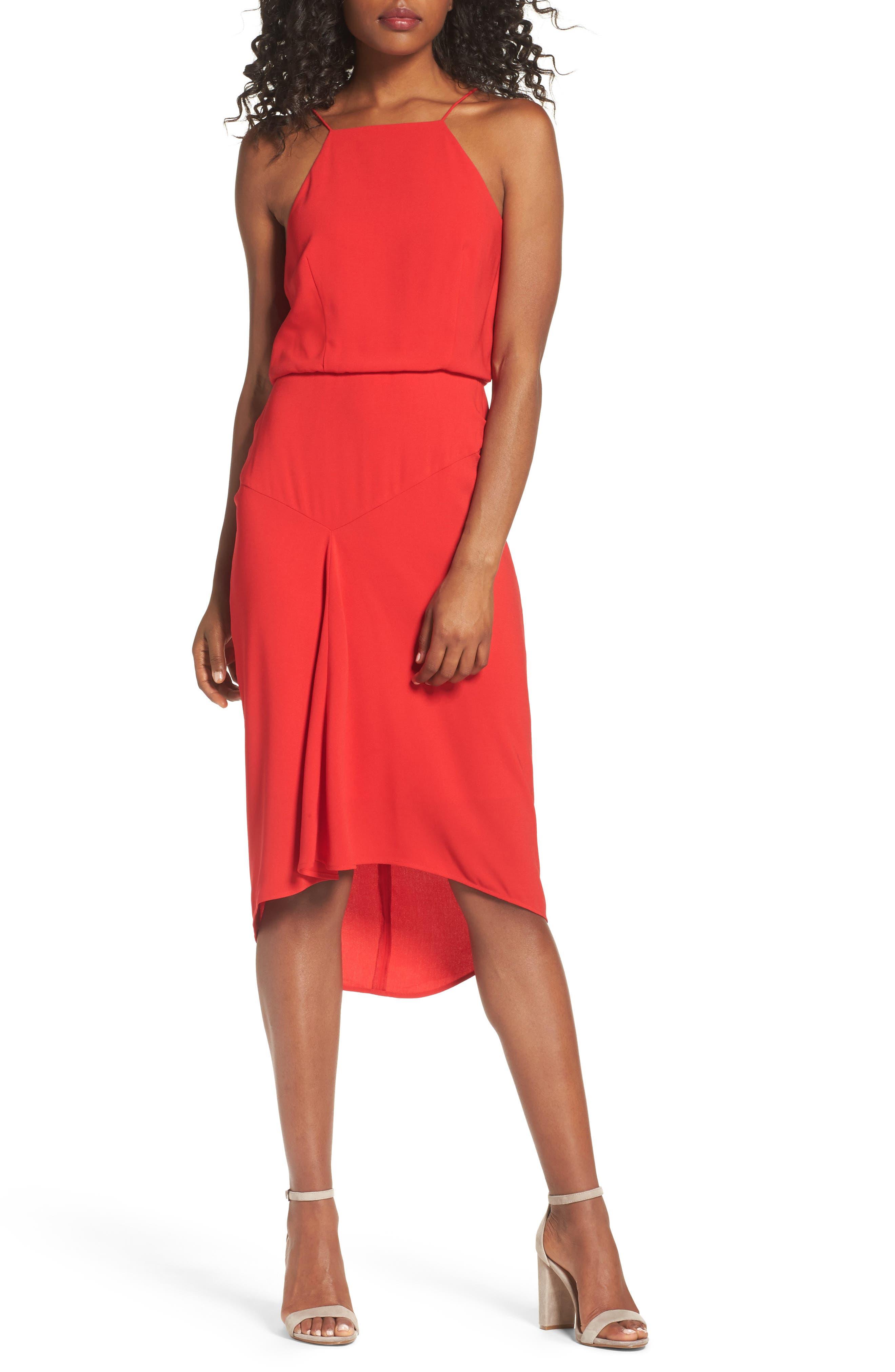 Shari Midi Dress,                         Main,                         color, Red