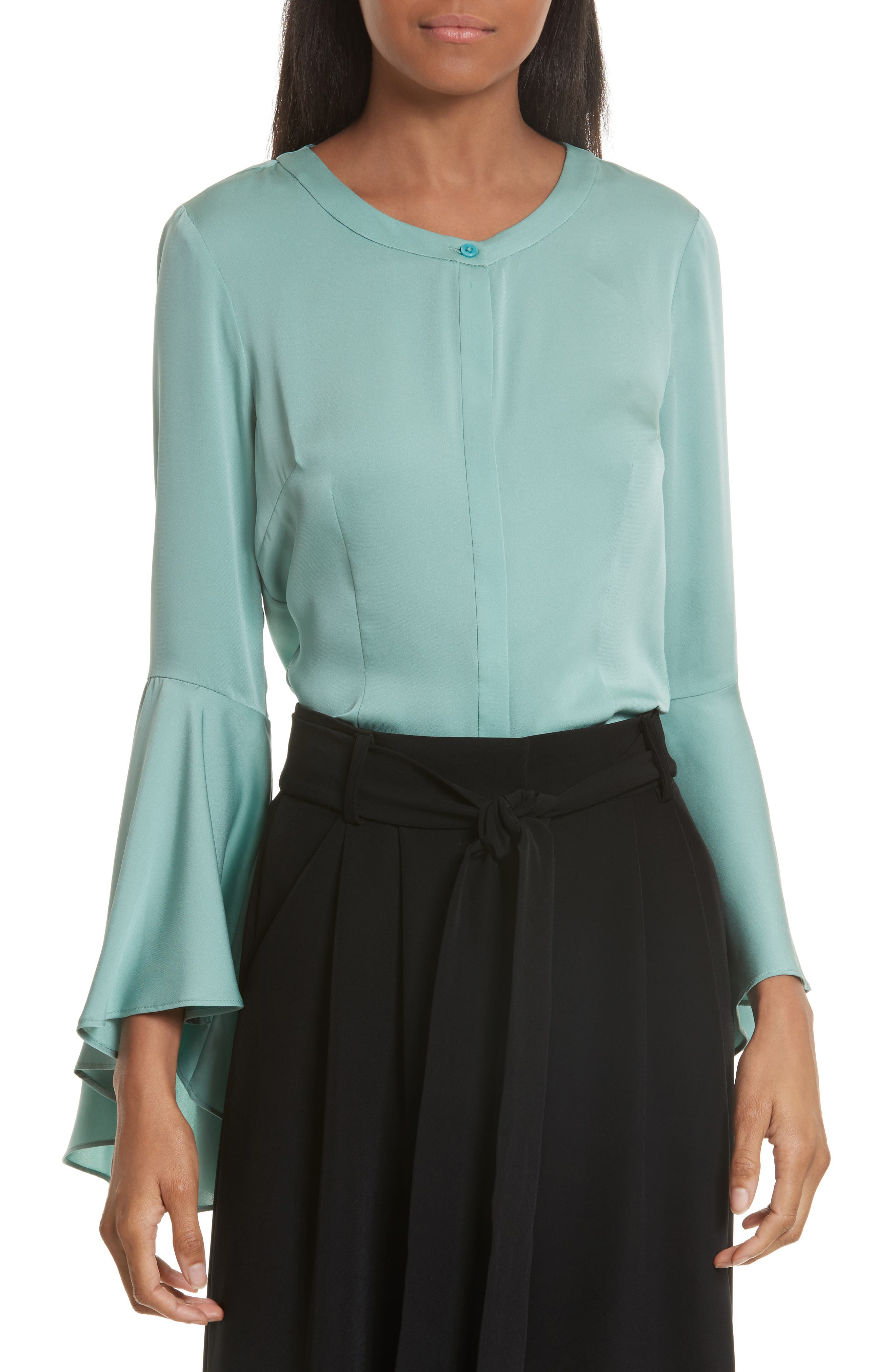 Michelle Bell Sleeve Stretch Silk Blouse,                         Main,                         color, Ice