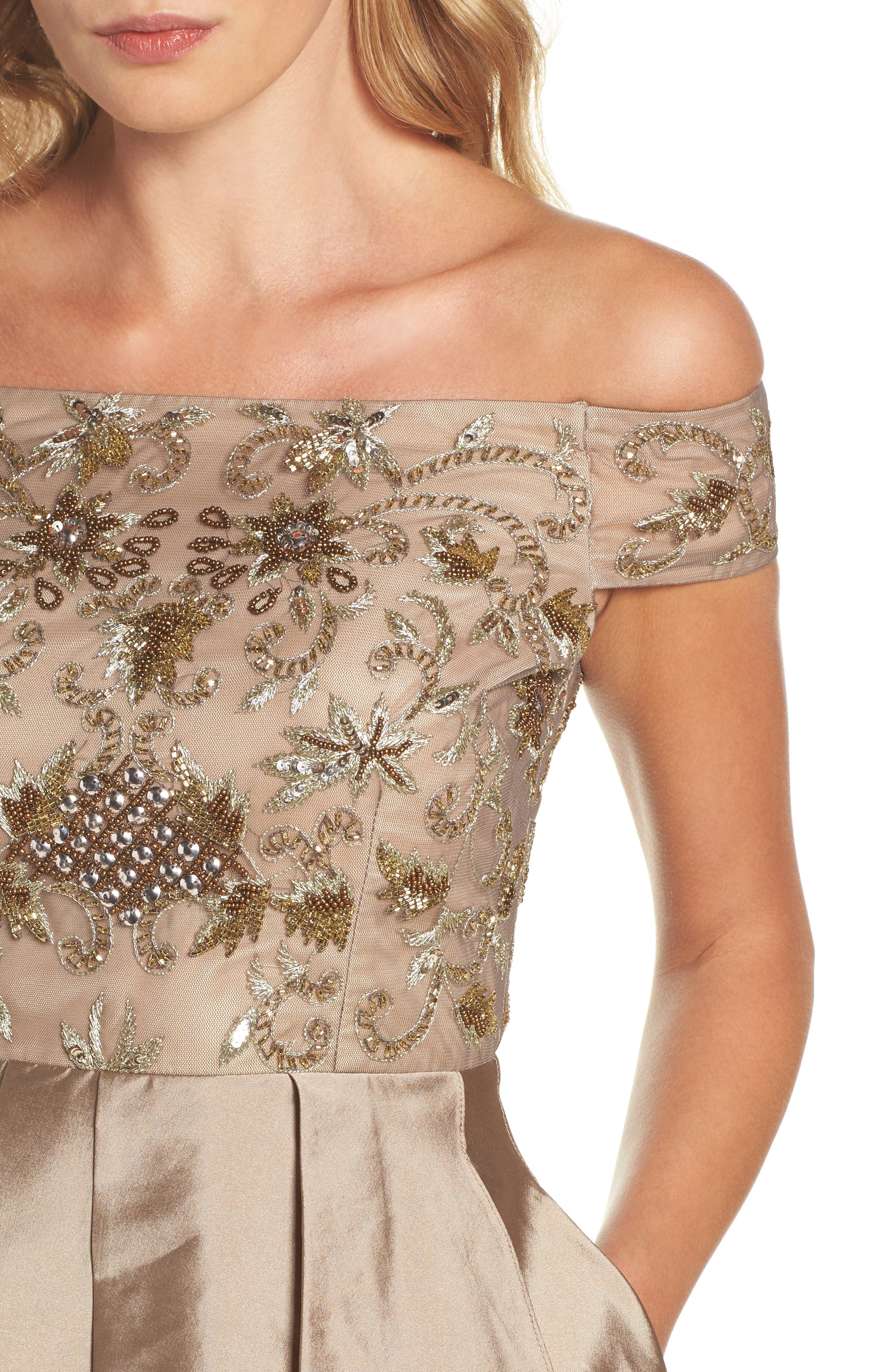 Alternate Image 4  - Adrianna Papell Embellished High/Low Off the Shoulder Dress