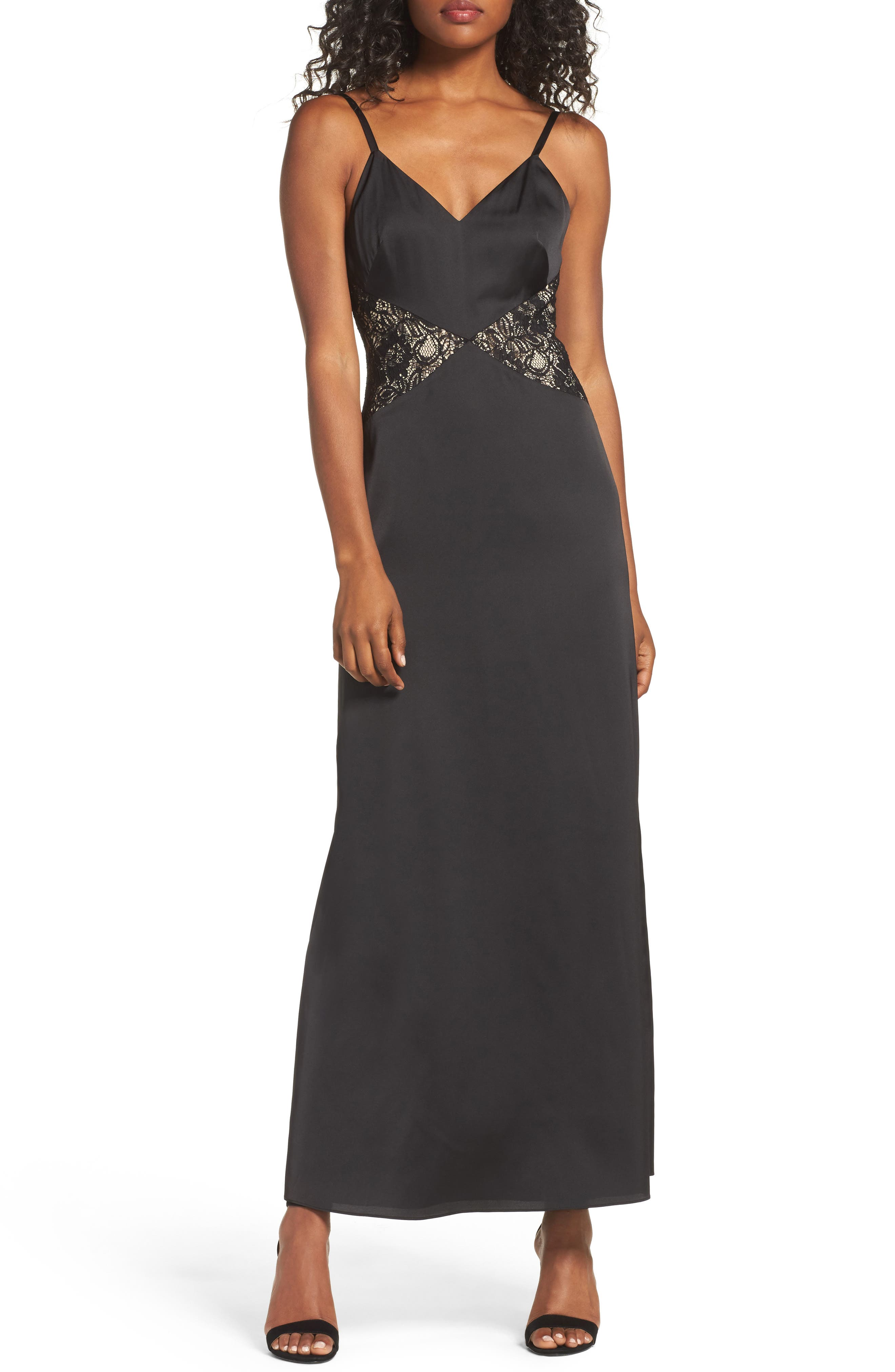 Femme Fatale Slip Dress,                             Main thumbnail 1, color,                             Black