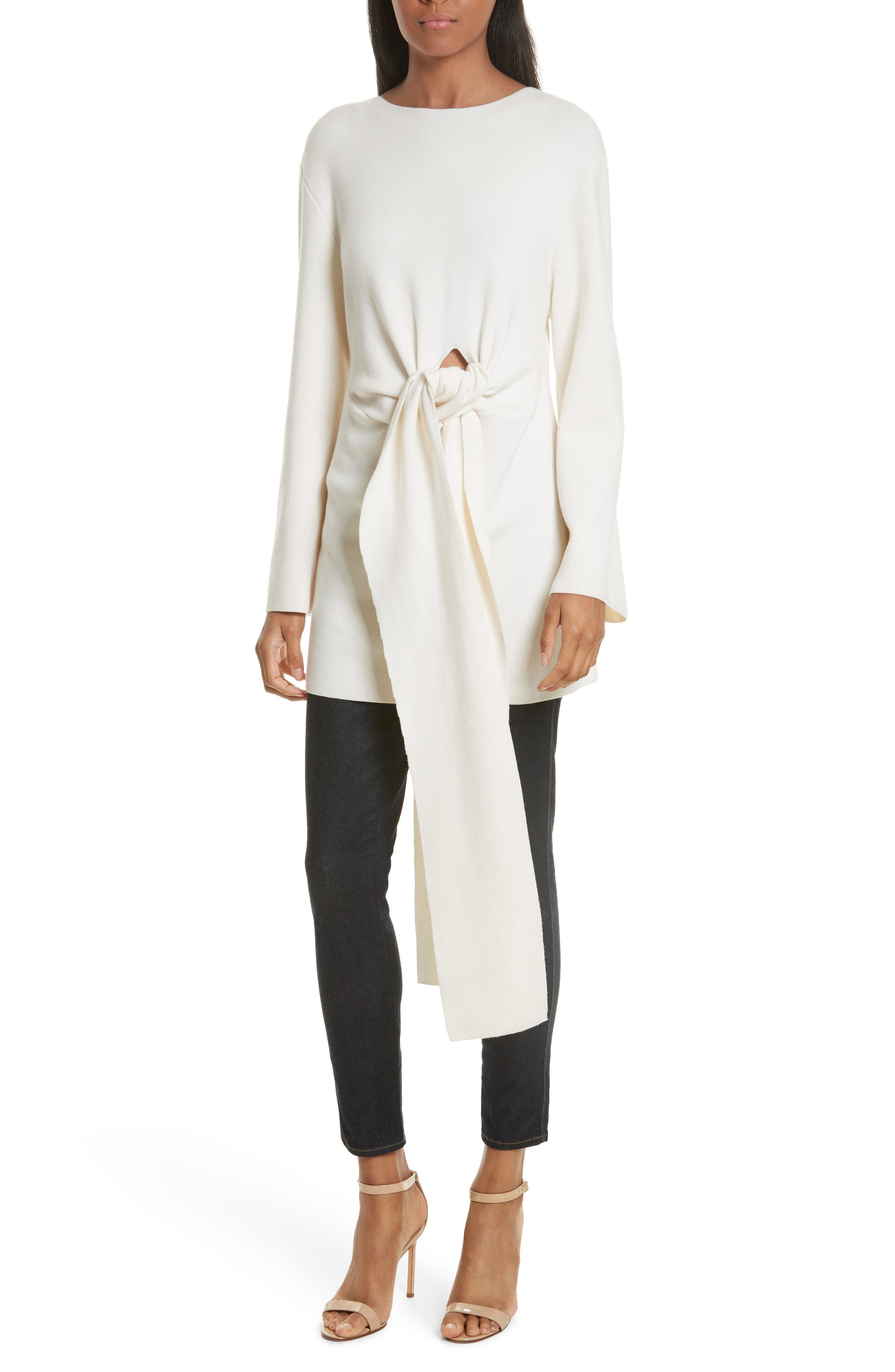 Twist Tie Stretch Wool Sweater Tunic,                         Main,                         color, White