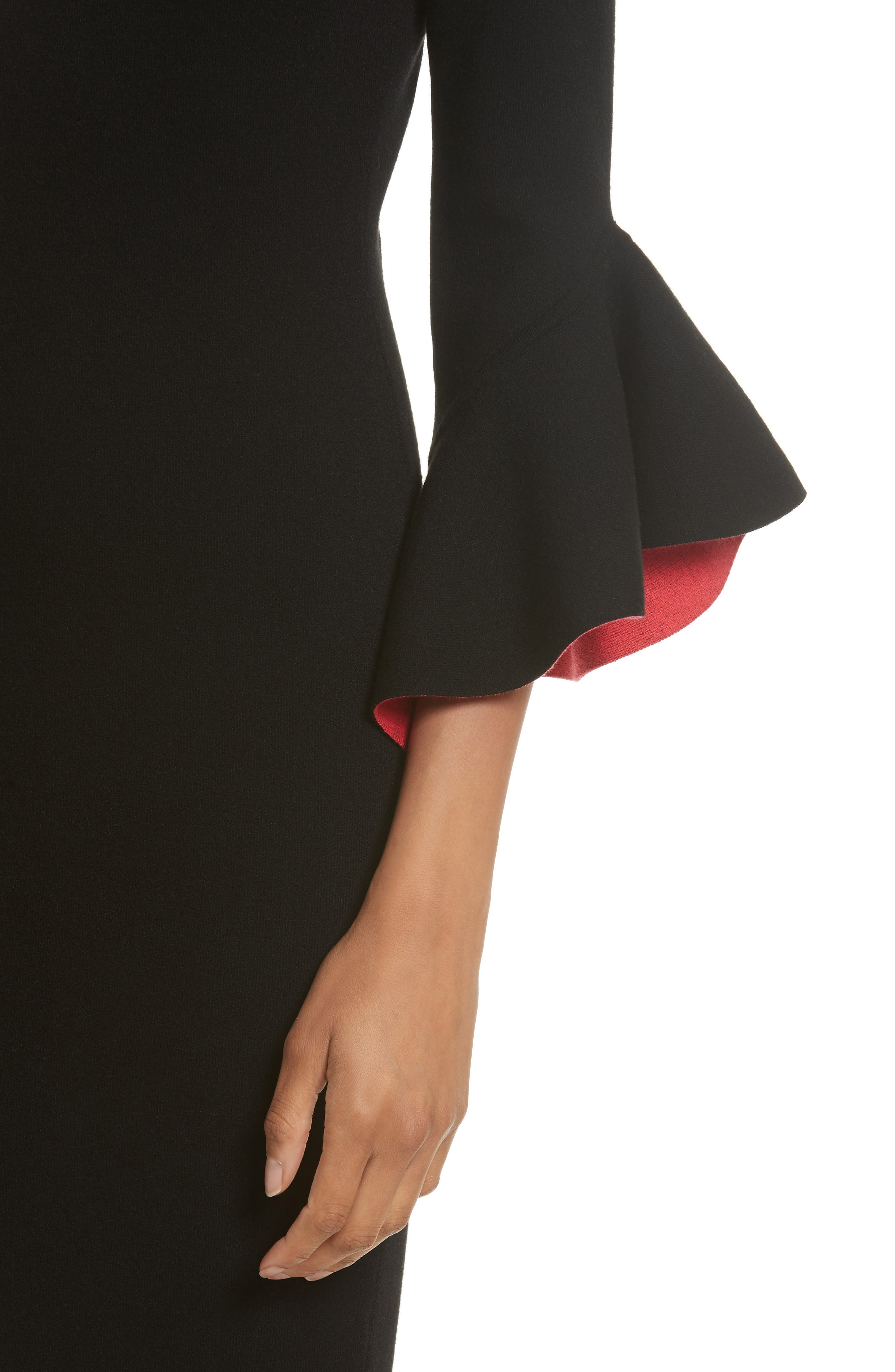 Contrast Lined Bell Sleeve Sheath Dress,                             Alternate thumbnail 4, color,                             Black/ Cherry