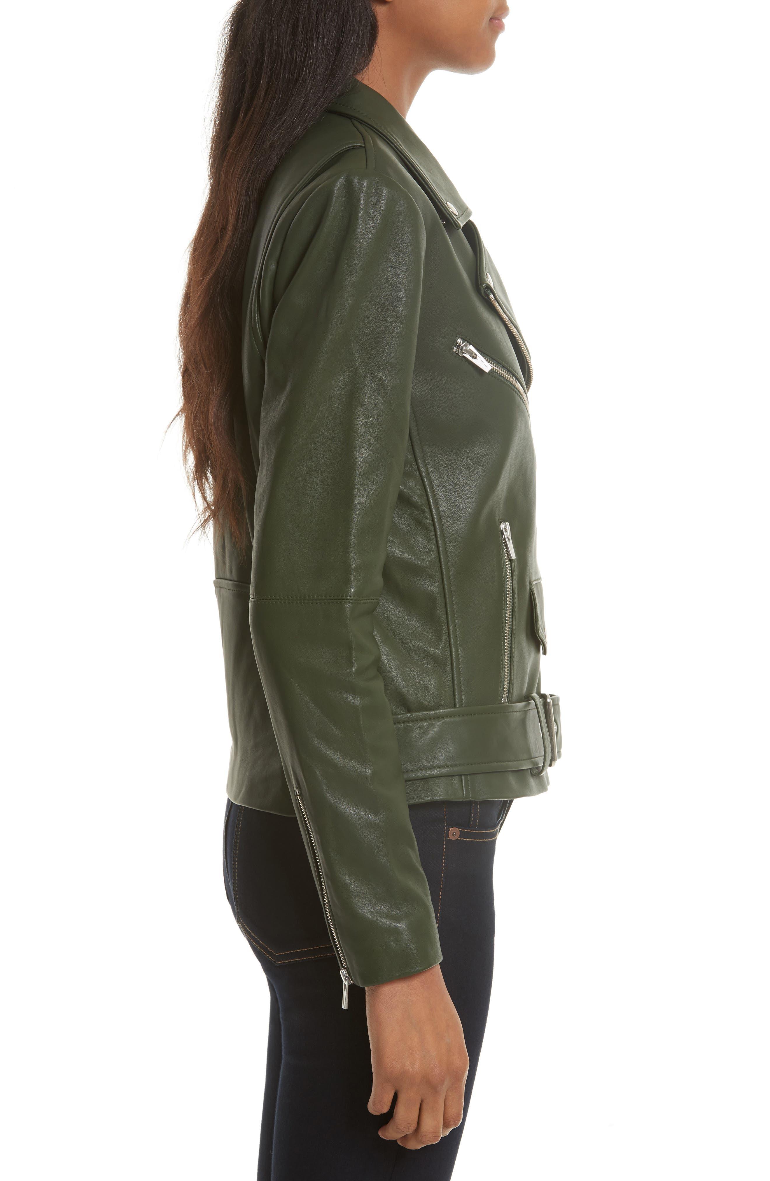 Jayne Orion Lambskin Leather Moto Jacket,                             Alternate thumbnail 3, color,                             Green