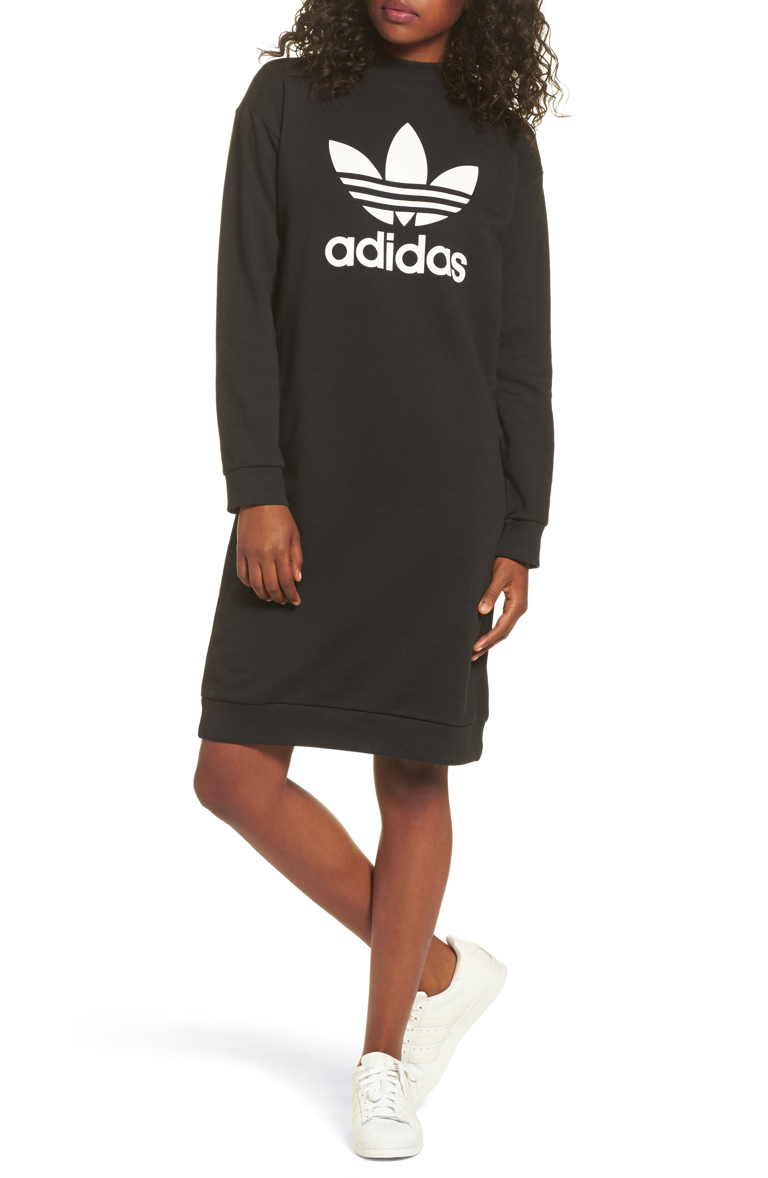 Alternate Image 1 Selected - adidas Trefoil French Terry Crewneck Dress