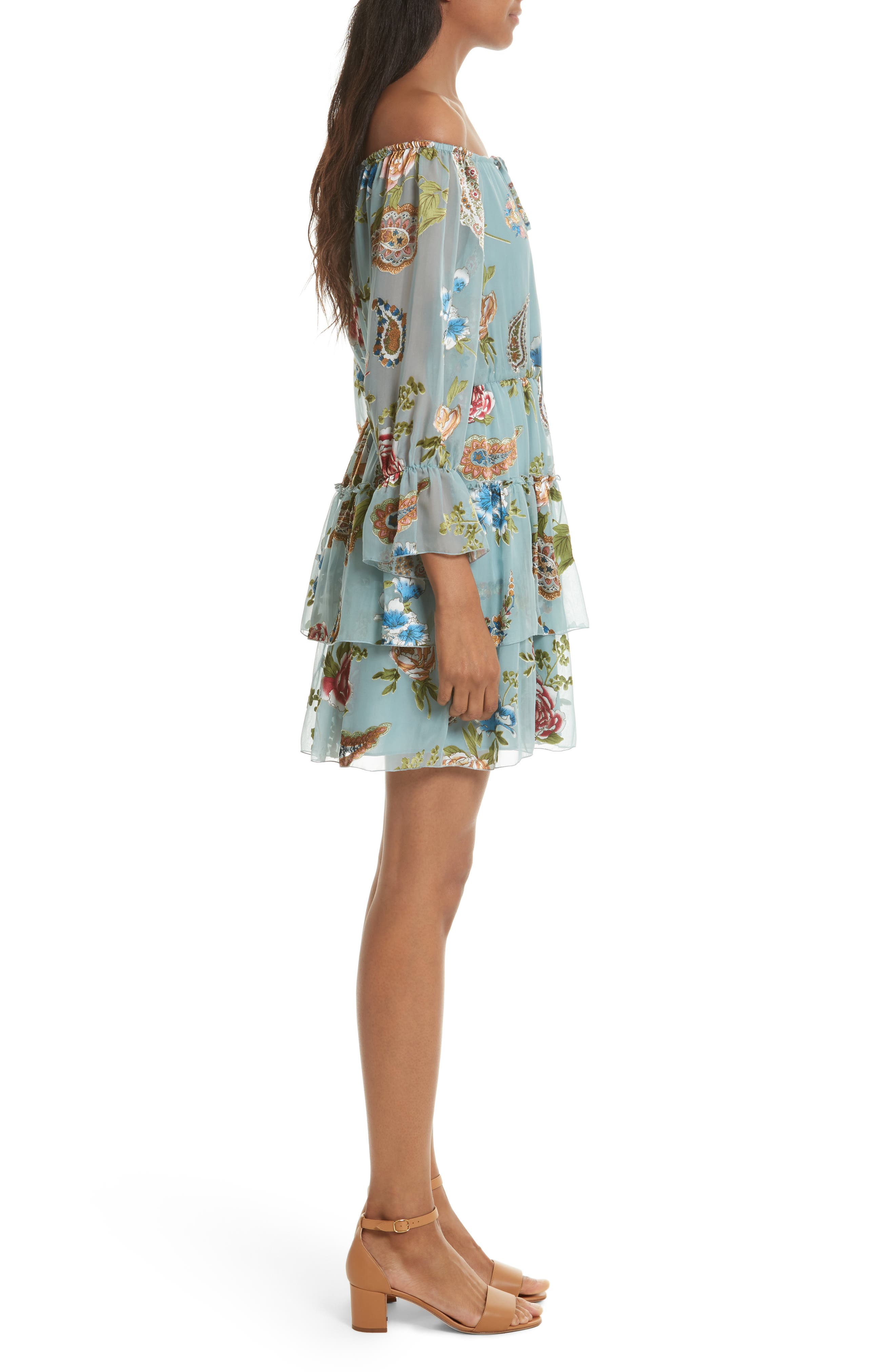 Alternate Image 4  - Alice + Olivia Waylon Off the Shoulder Blouson Dress