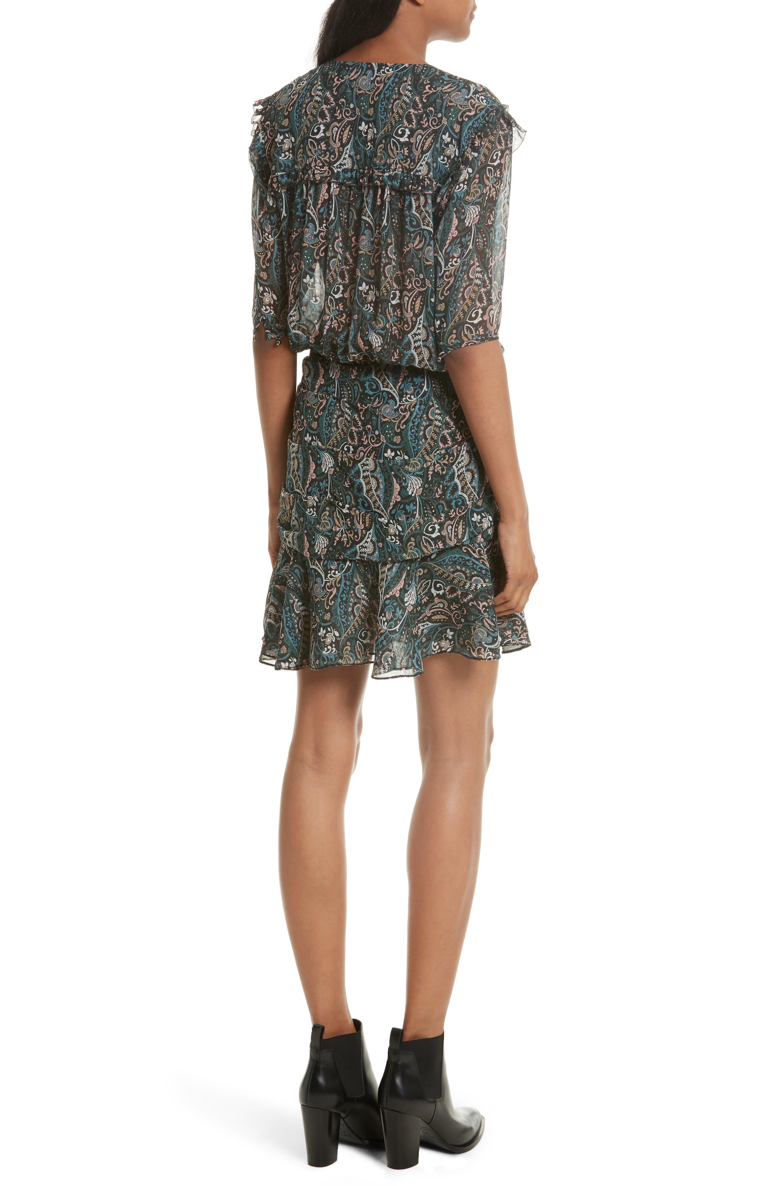 Alternate Image 2  - Veronica Beard Retro Paisley Print Flounce Silk Dress (Nordstrom Exclusive)