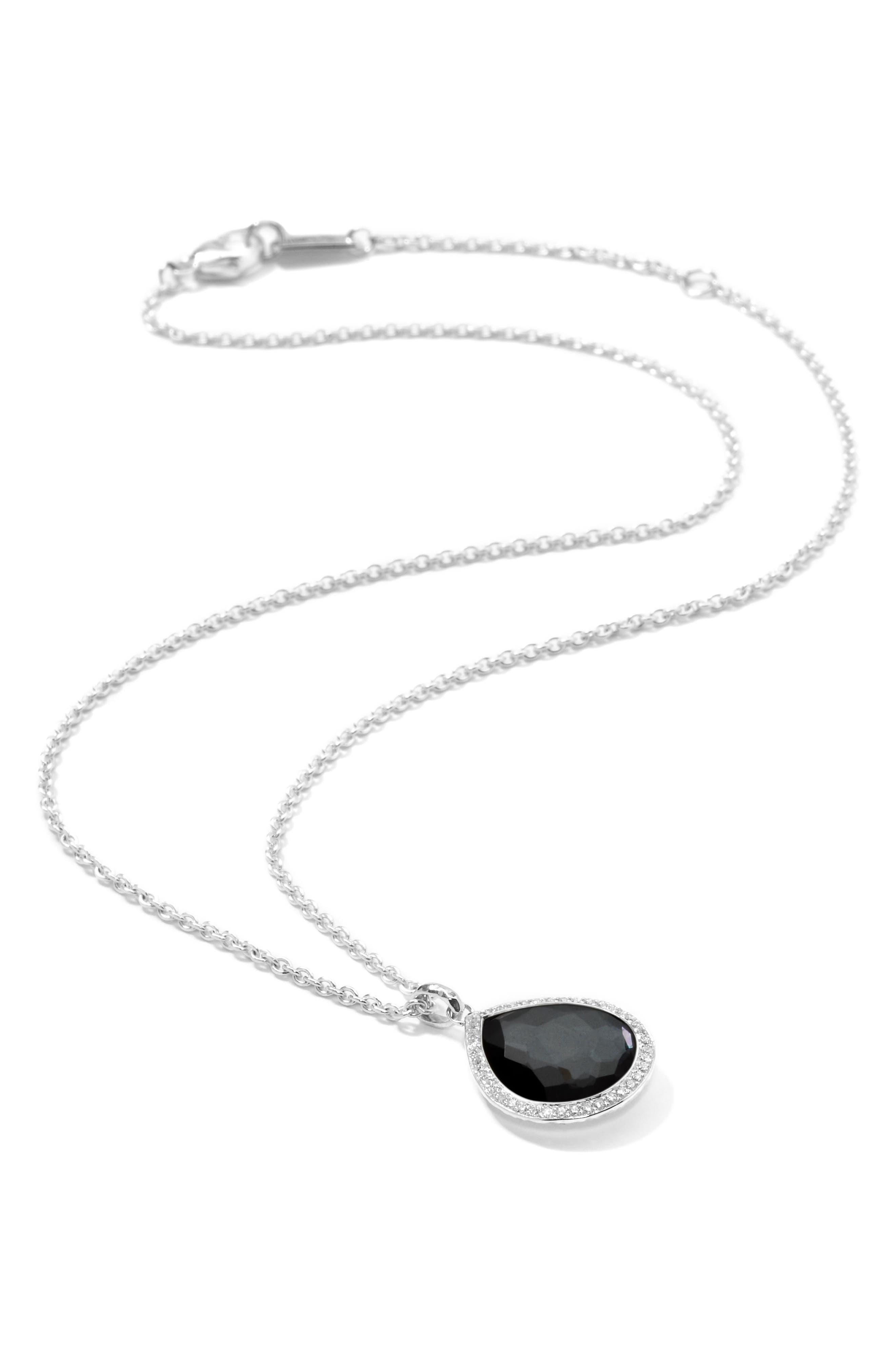 Lollipop Teardrop Pendant Necklace,                         Main,                         color, Hematite