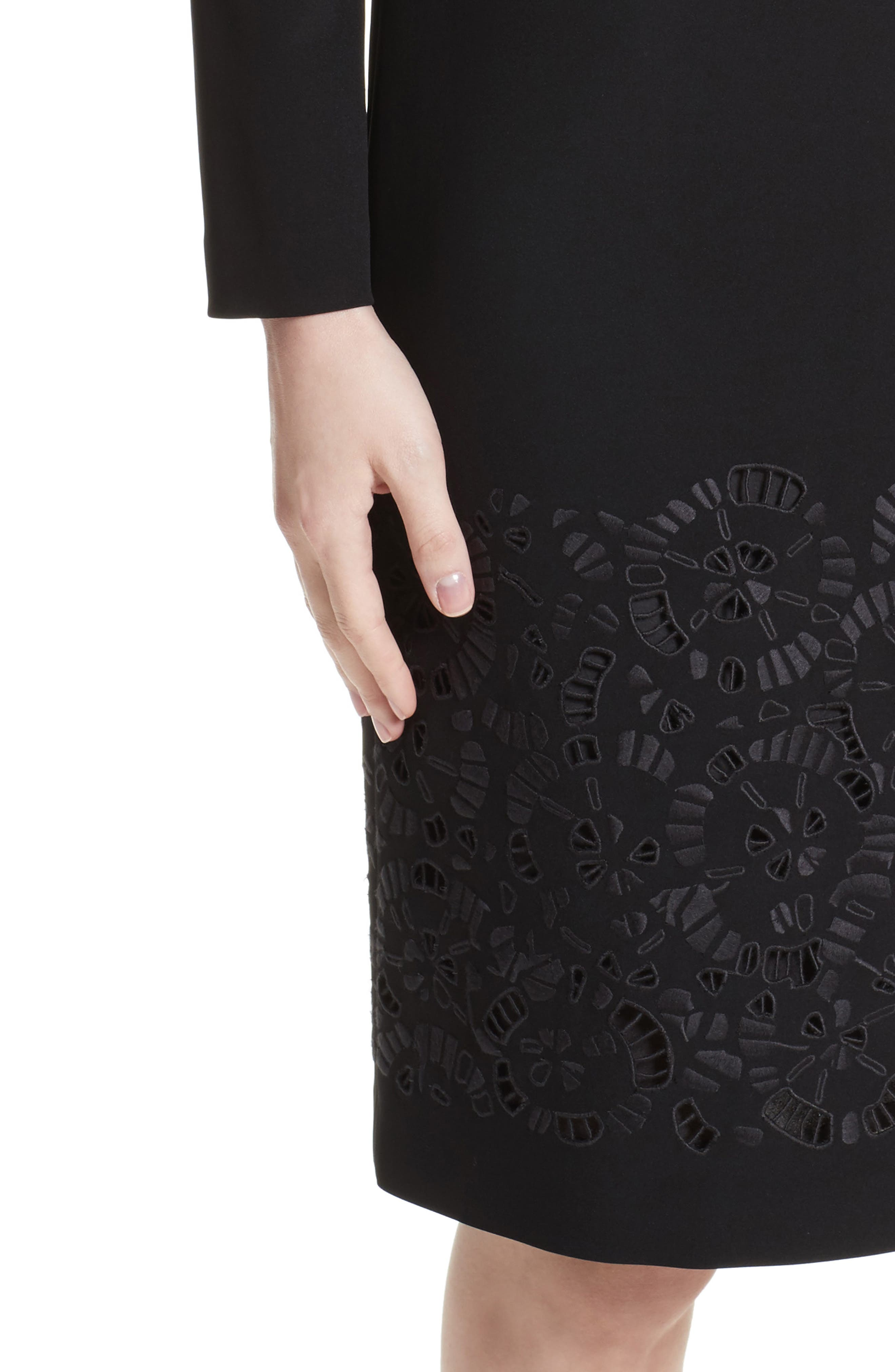 Corbin Embroidered Laser Cut Dress,                             Alternate thumbnail 4, color,                             Black