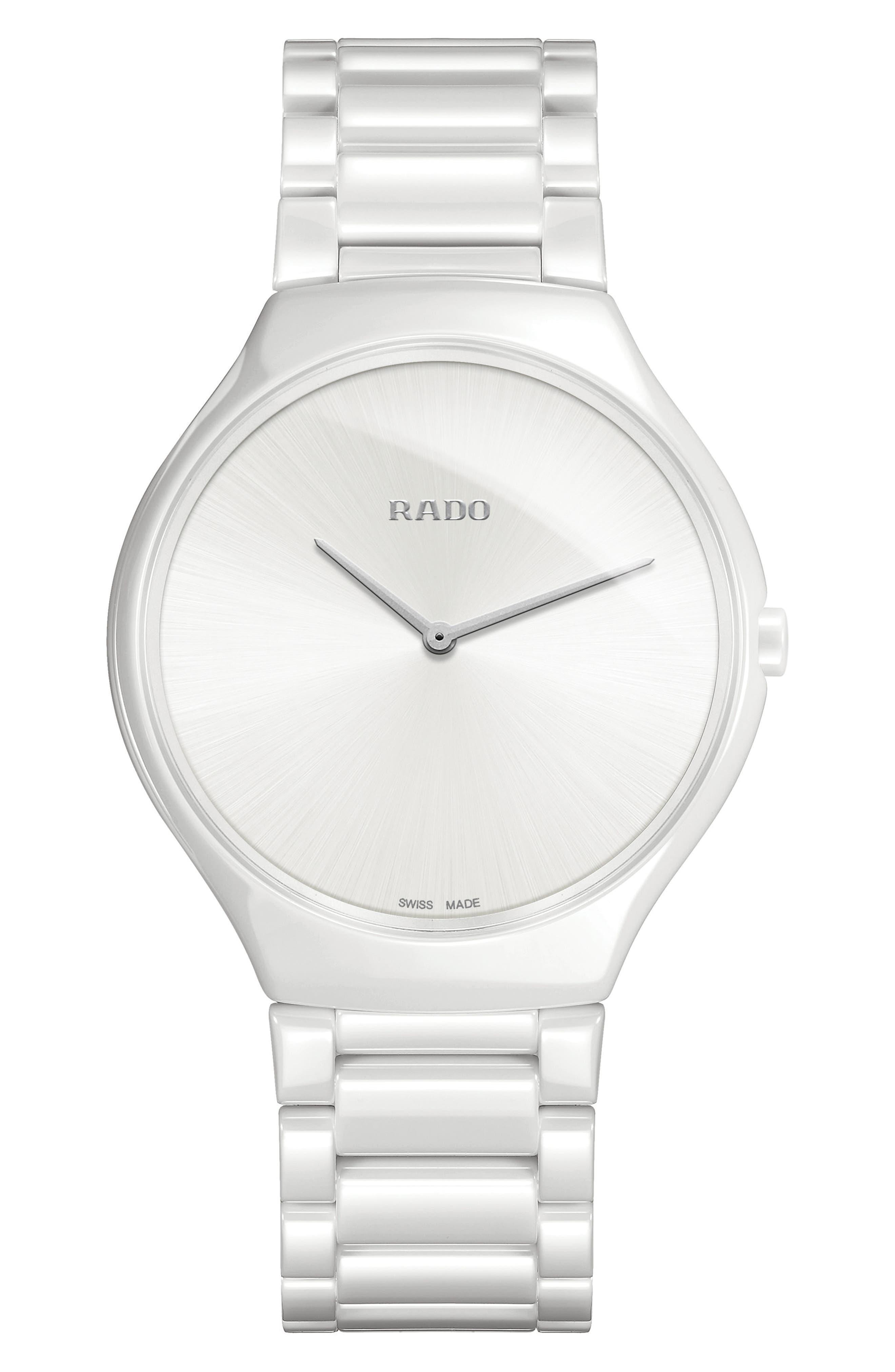 True Thinline Ceramic Bracelet Watch, 39mm,                             Main thumbnail 1, color,                             White