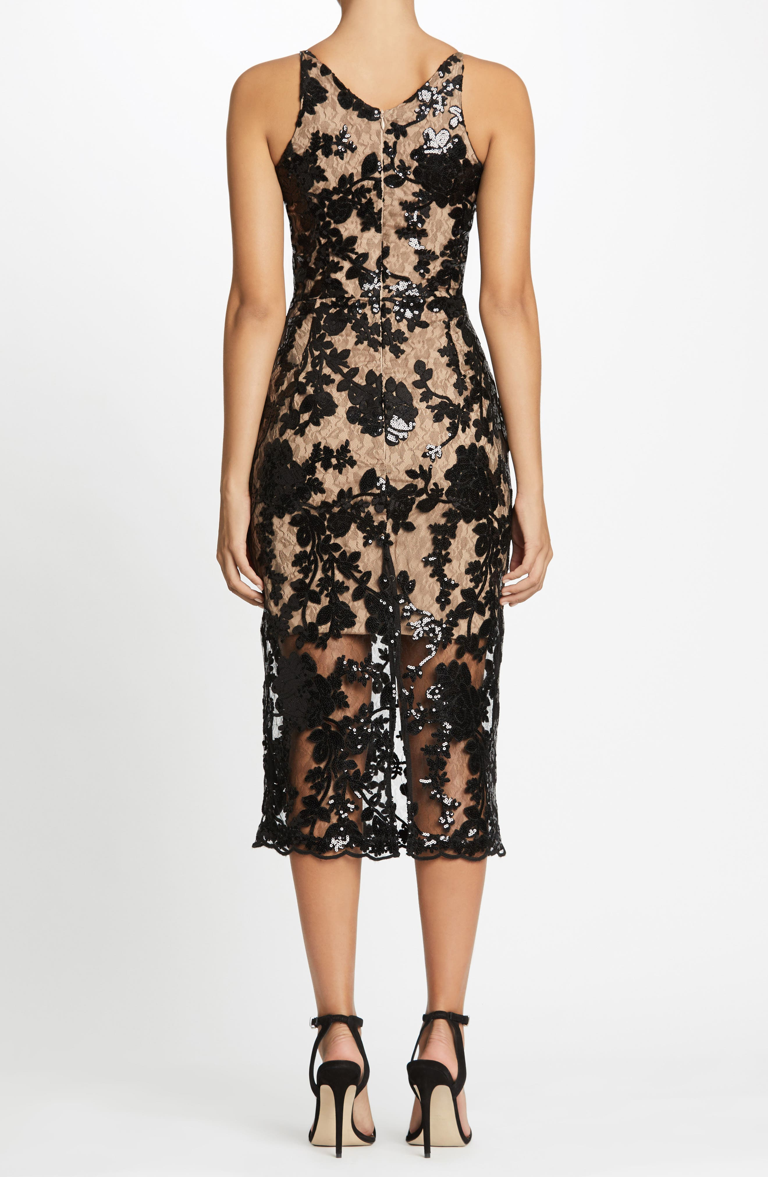Alternate Image 3  - Dress the Population Rebecca Floral Lace Midi Dress (Nordstrom Exclusive)