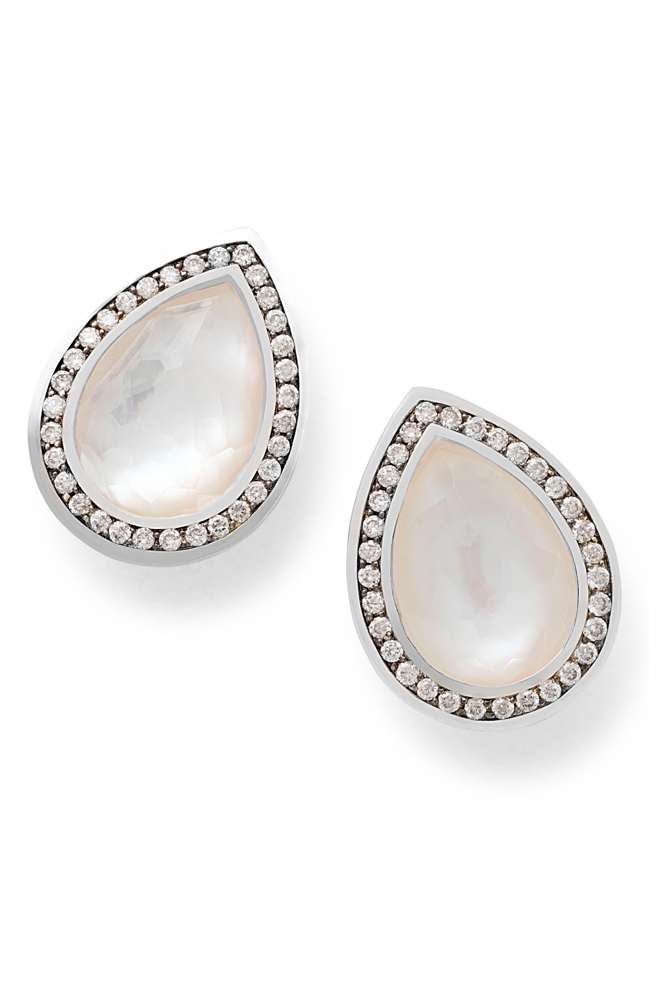 Teardrop Stud Earrings,                         Main,                         color, Mother Of Pearl