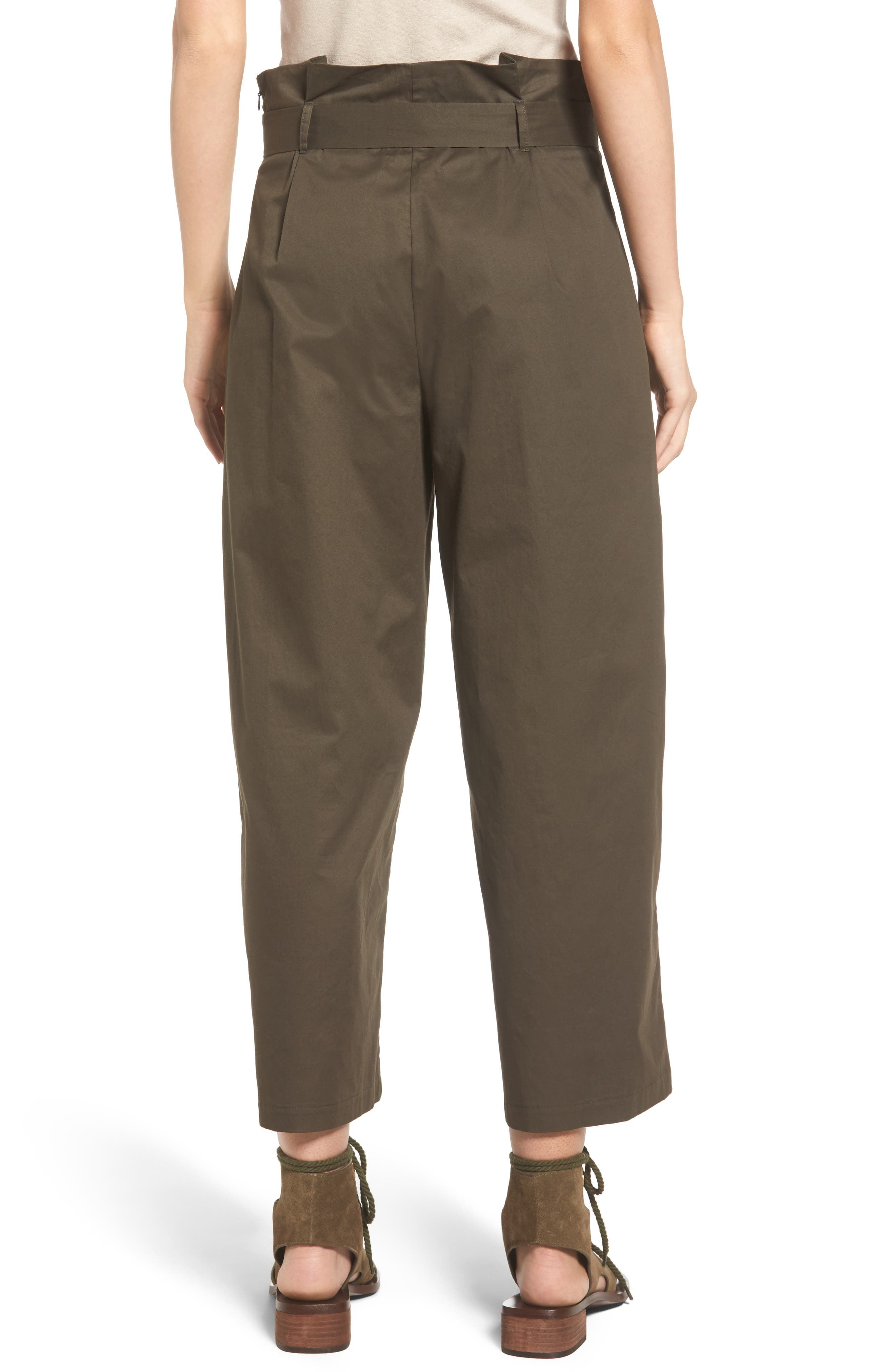 Paperbag Waist Wide Leg Pants,                             Alternate thumbnail 2, color,                             Brined Olive