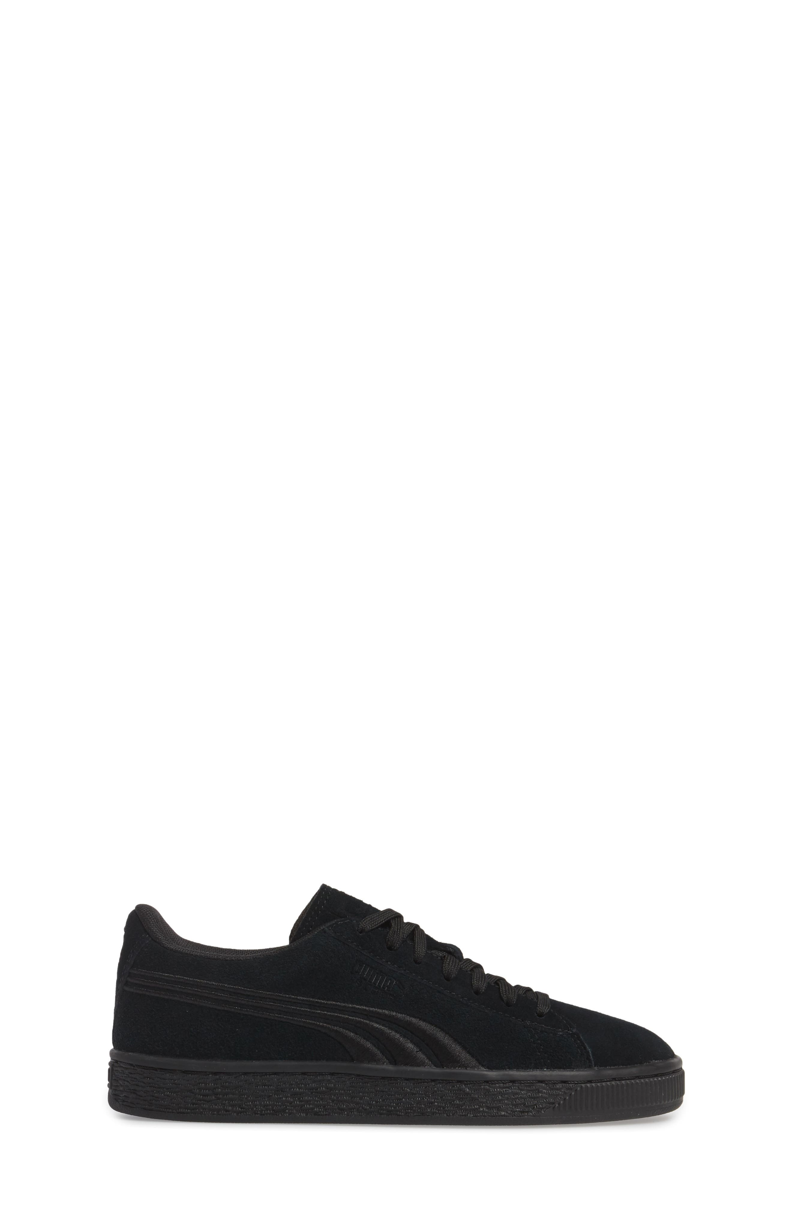 Suede Classic Badge Jr. Sneaker,                             Alternate thumbnail 3, color,                             Black/ Black
