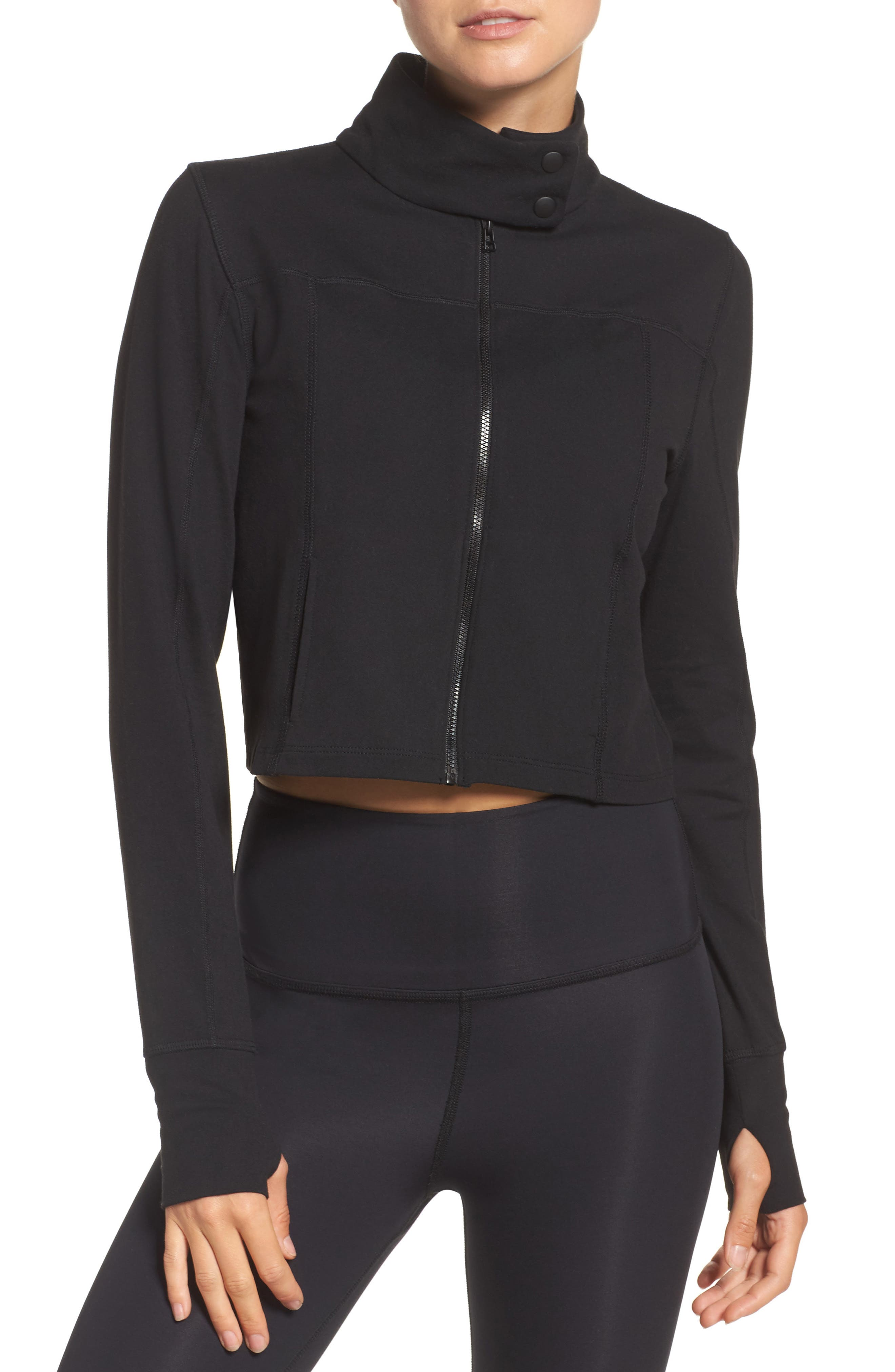 Boxed In Crop Jacket,                             Main thumbnail 1, color,                             Jet Black